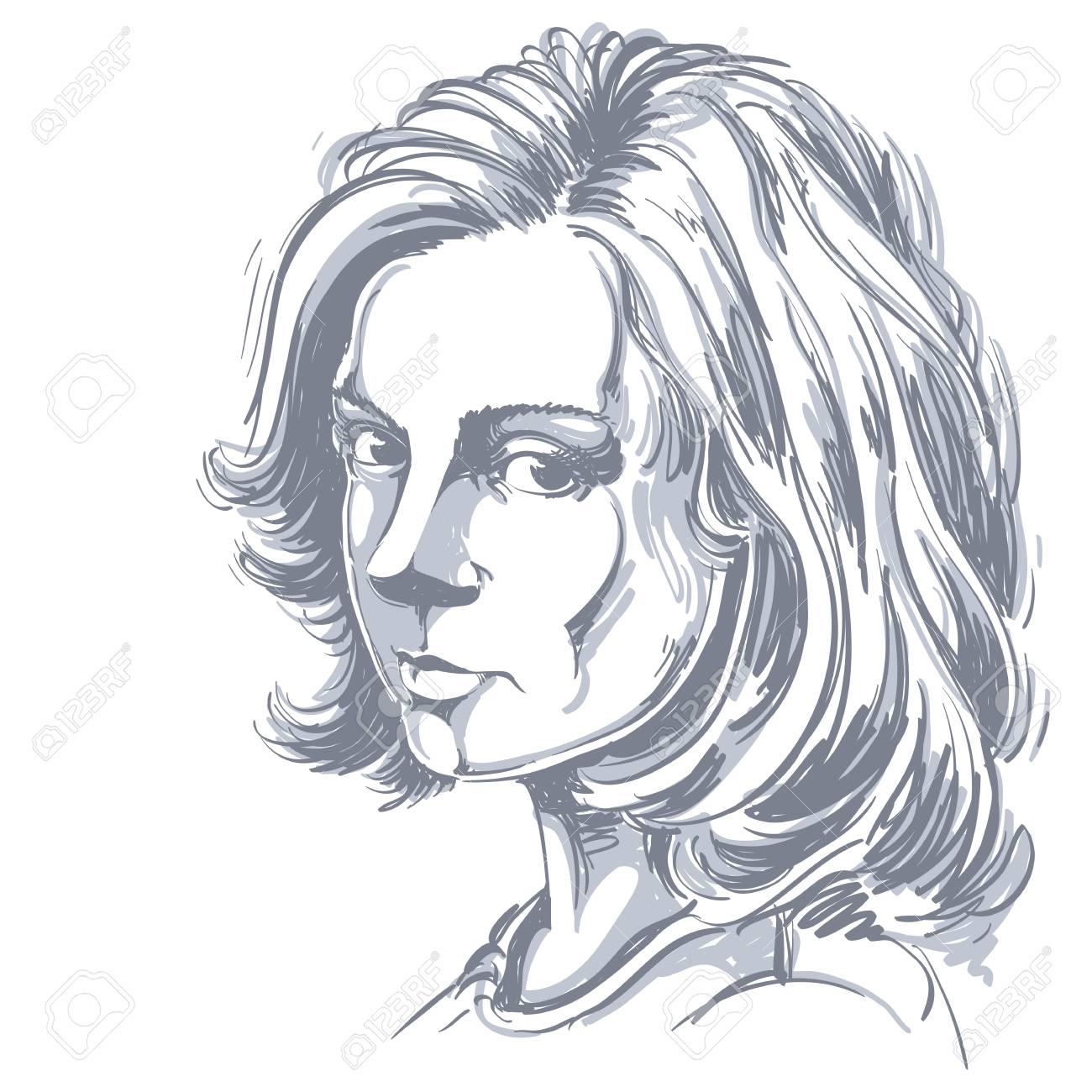 Kunstlerische Hand Gezeichnet Vektor Bild Schwarz Weiss Portrat Von