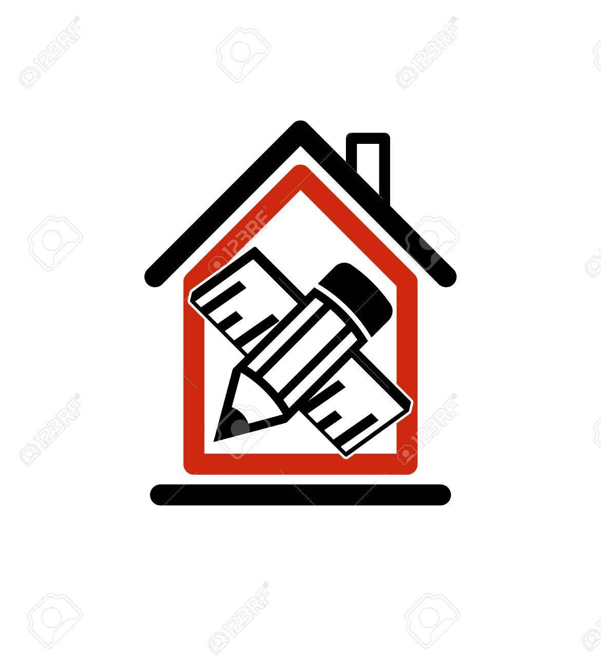 Attractive Architectural Design Conceptual Symbol, Simple Vector House Icon With Edit  Pencil And Measuring Line.