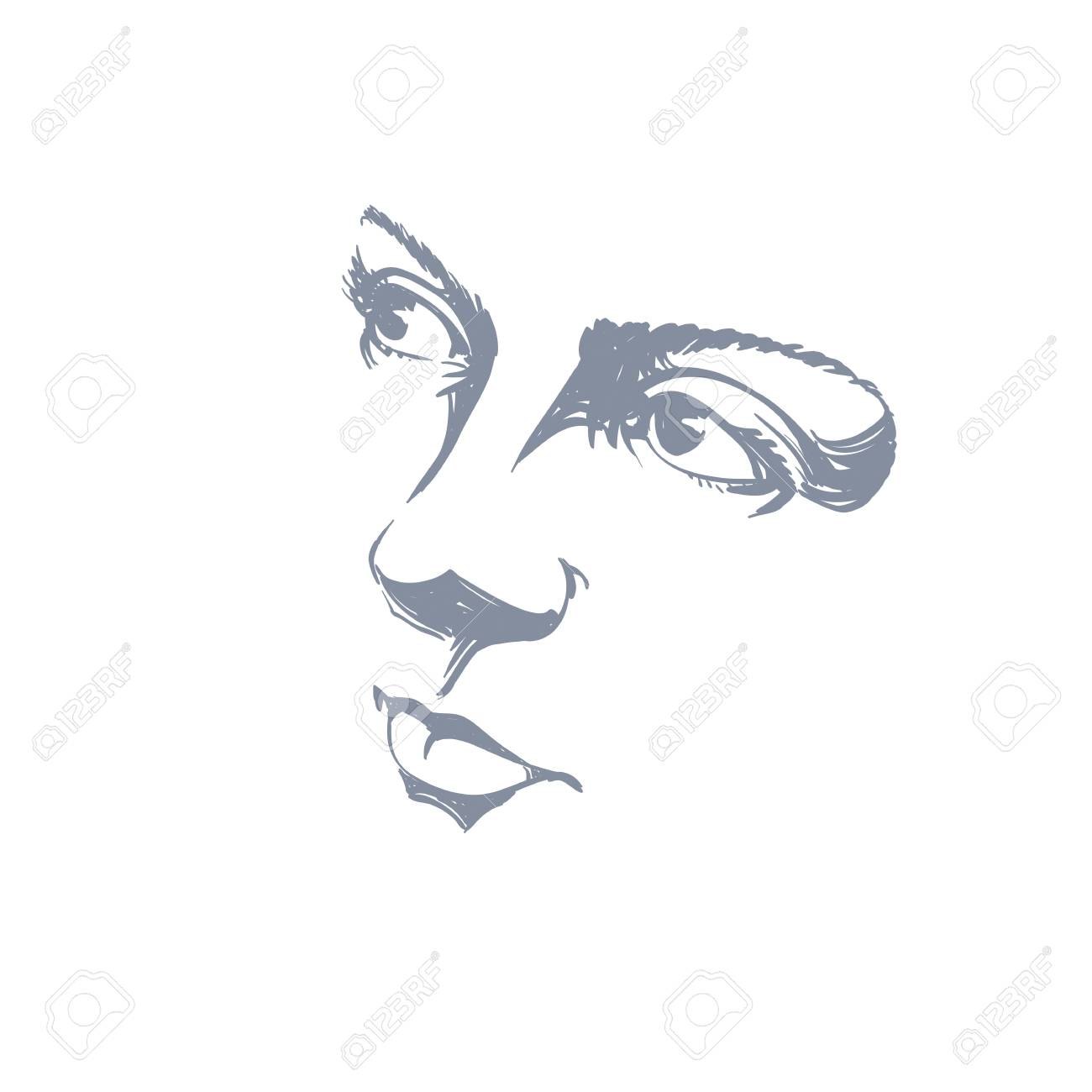Facial expression, hand-drawn illustration of face of romantic