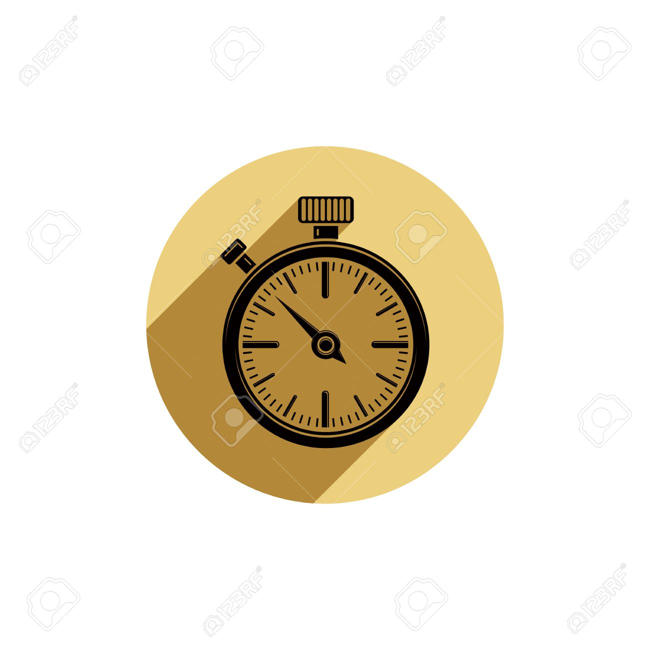 Old Fashioned Pocket Watch Graphic Illustration Simple Timer Classic Stopwatch Time