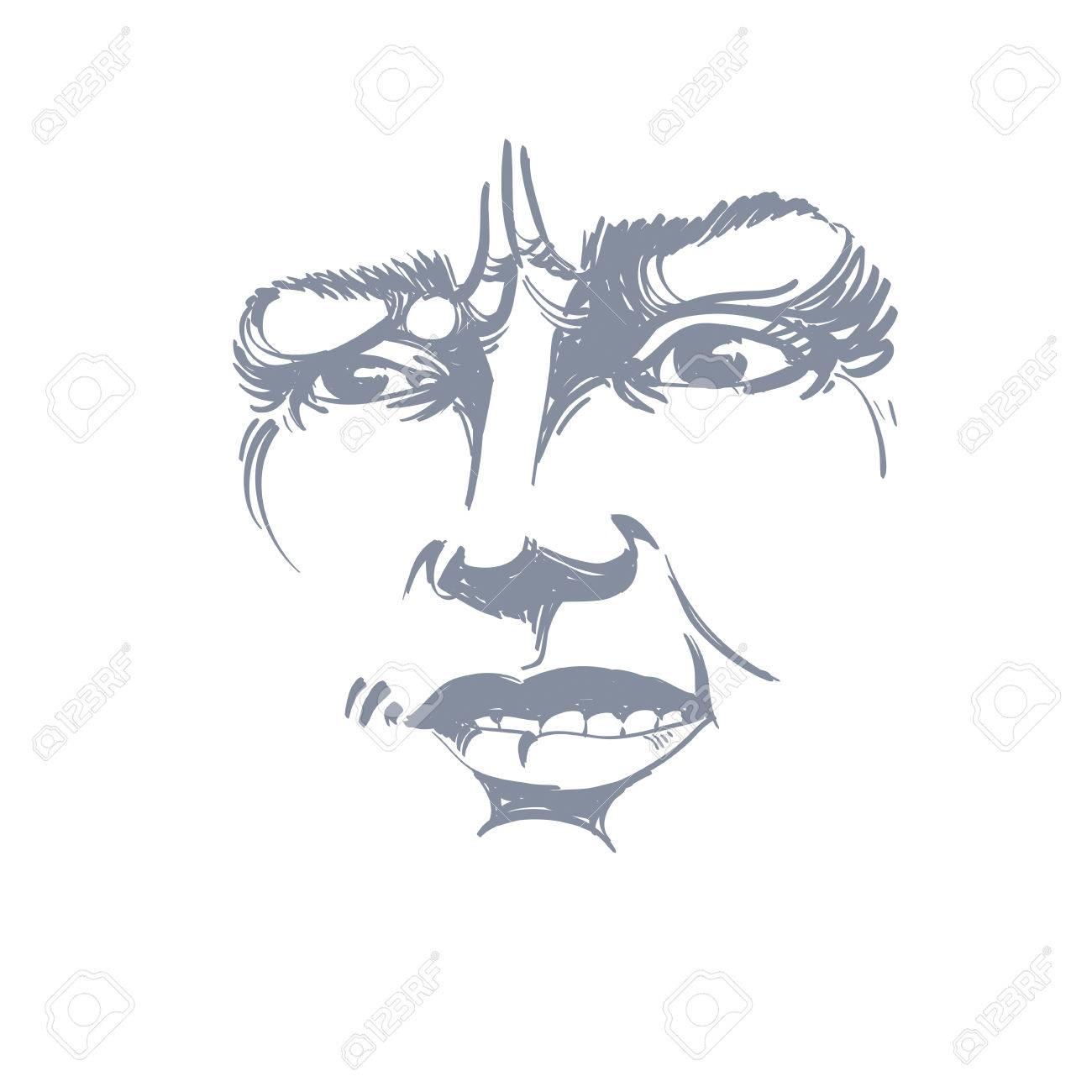 Dessin Vectoriel De La Femme Méfiante Traits Du Visage Portrait En Noir Et Blanc De Dame De Douteur Ne Me Mens Pas
