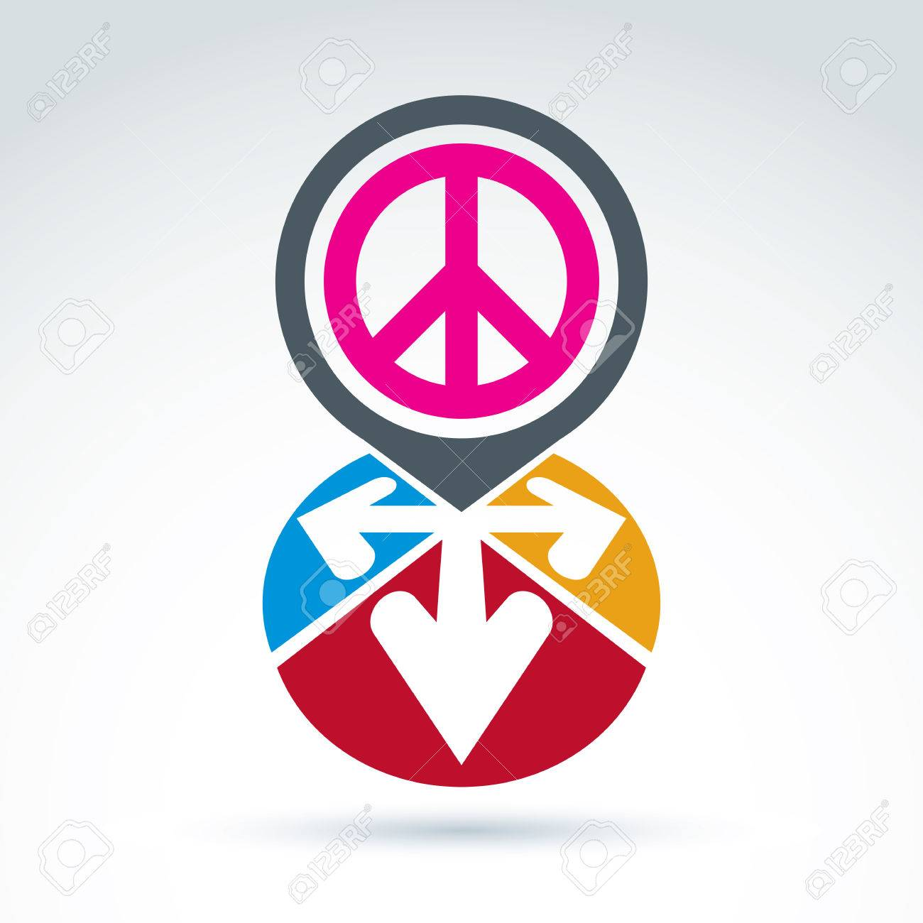Vector conceptual love and peace sign colorful arrows in the vector conceptual love and peace sign colorful arrows in the shape of hearts freedom biocorpaavc