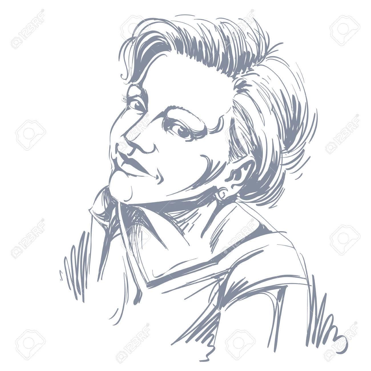 Vector Art Dessin Portrait De Fille Magnifique Heureux Isolé Sur Blanc Les Expressions Du Visage Les Gens Des émotions Positives