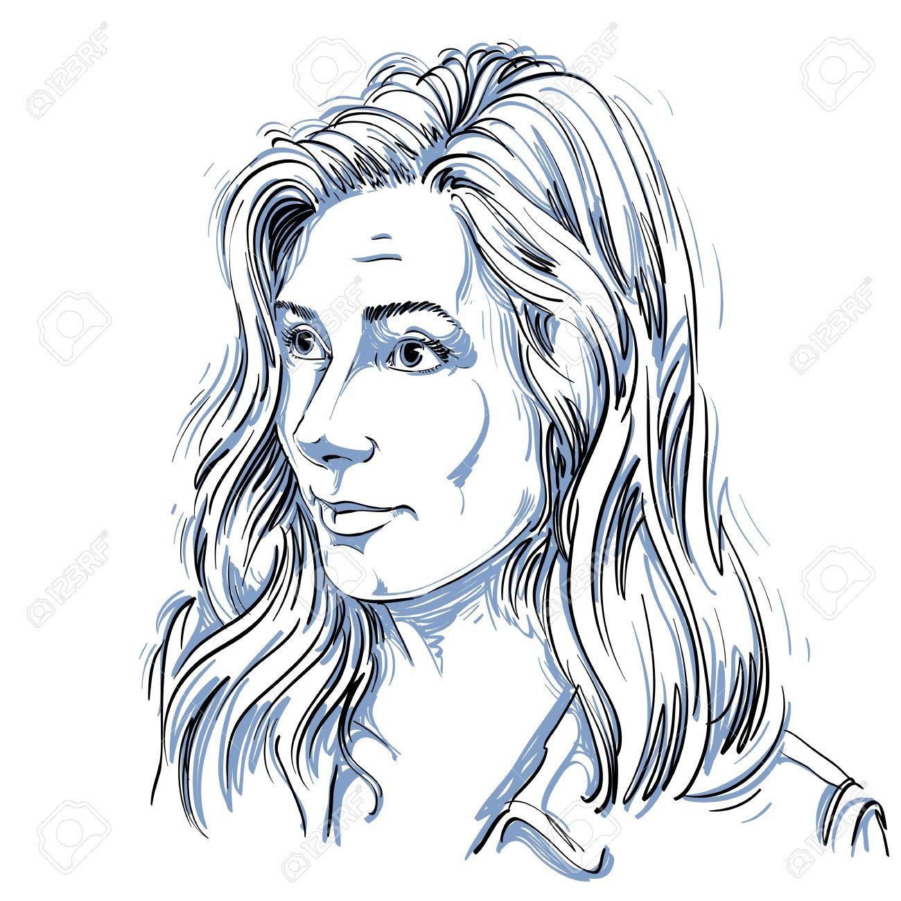 Portrait De Femme Délicate Douter De Rides Sur Son Front En Noir Et Blanc De Dessin Vectoriel Idée Image Expressions émotionnelles