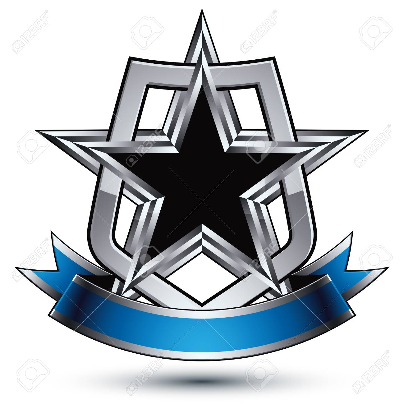 Heraldic Vector Template With Five Pentagonal Silver Stars And ...