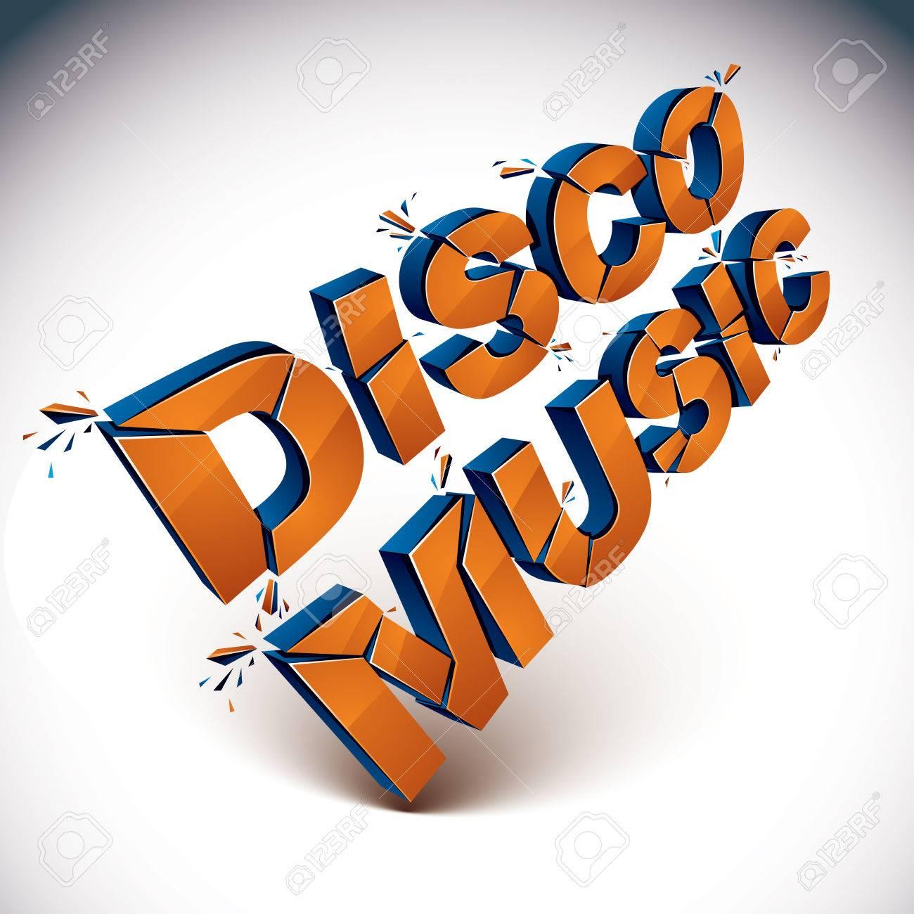 Dimensional Zertrümmerten Vektor Discomusik Wort, Zeitgenössischen ...