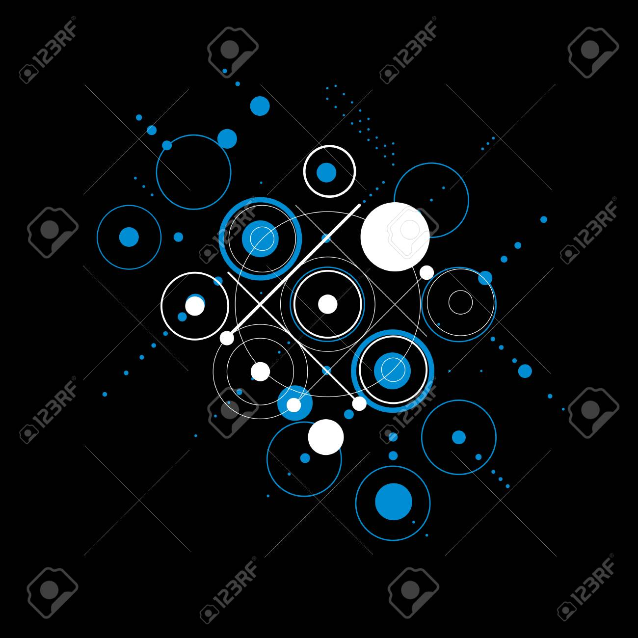 Bauhaus art composition, decorative modular blue and black vector..