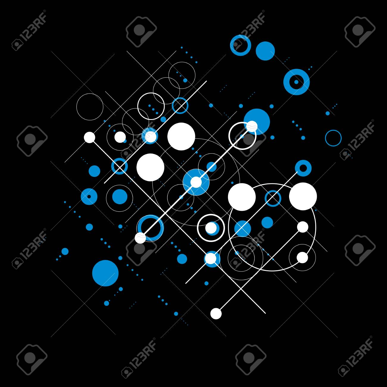 Bauhaus Retro Wallpaper Blue And Black Art Vector Background