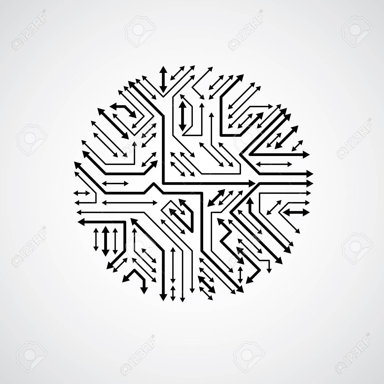 Vector Abstract Computer Circuit Board Monochrome Illustration ...