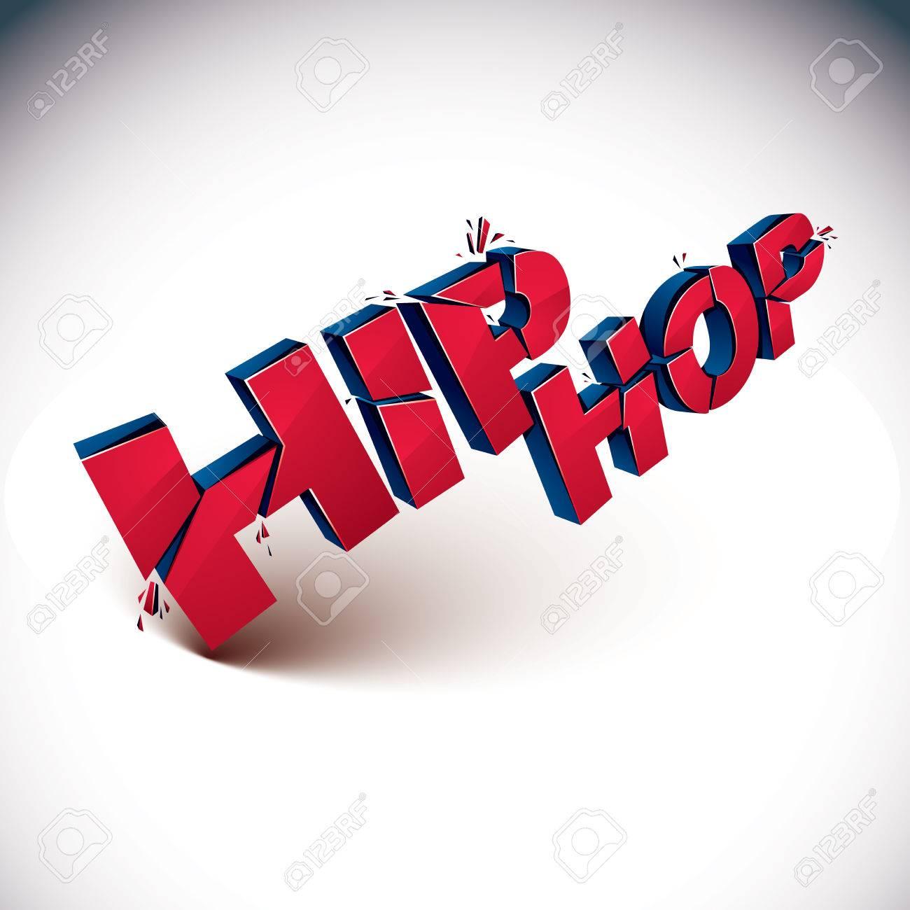 Dimensional Zertrümmerten Vektor Rot Hip-Hop-Wort, Zeitgenössischen ...