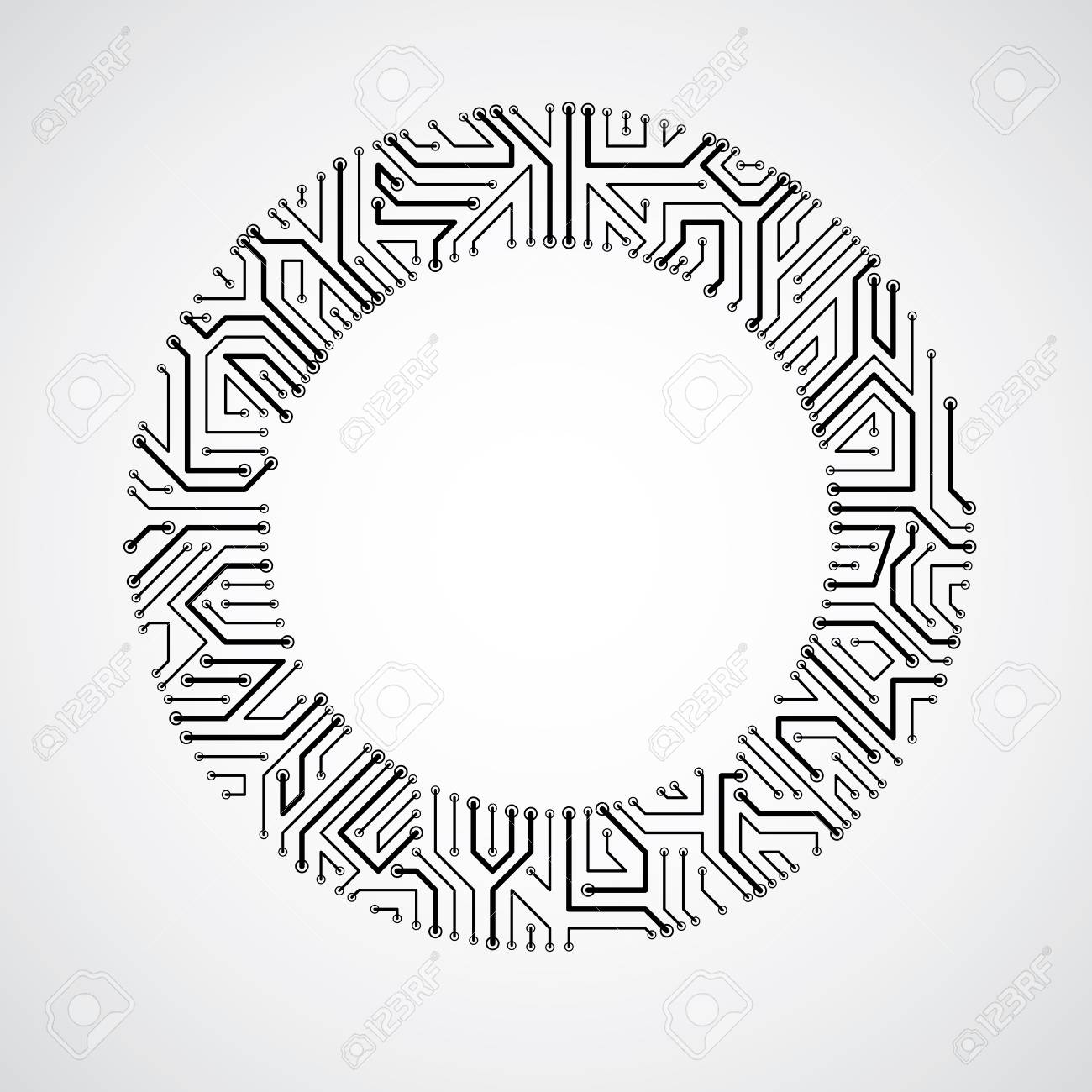 Vector Abstract Technology Illustration With Round Monochrome ...