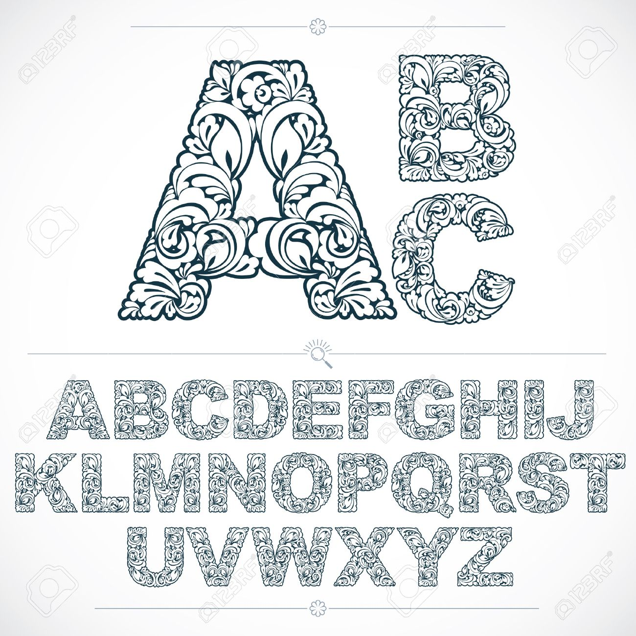 Floral alphabet sans serif letters drawn using abstract vintage pattern, spring leaves design. Black and white vector font created in natural eco style. - 54749470