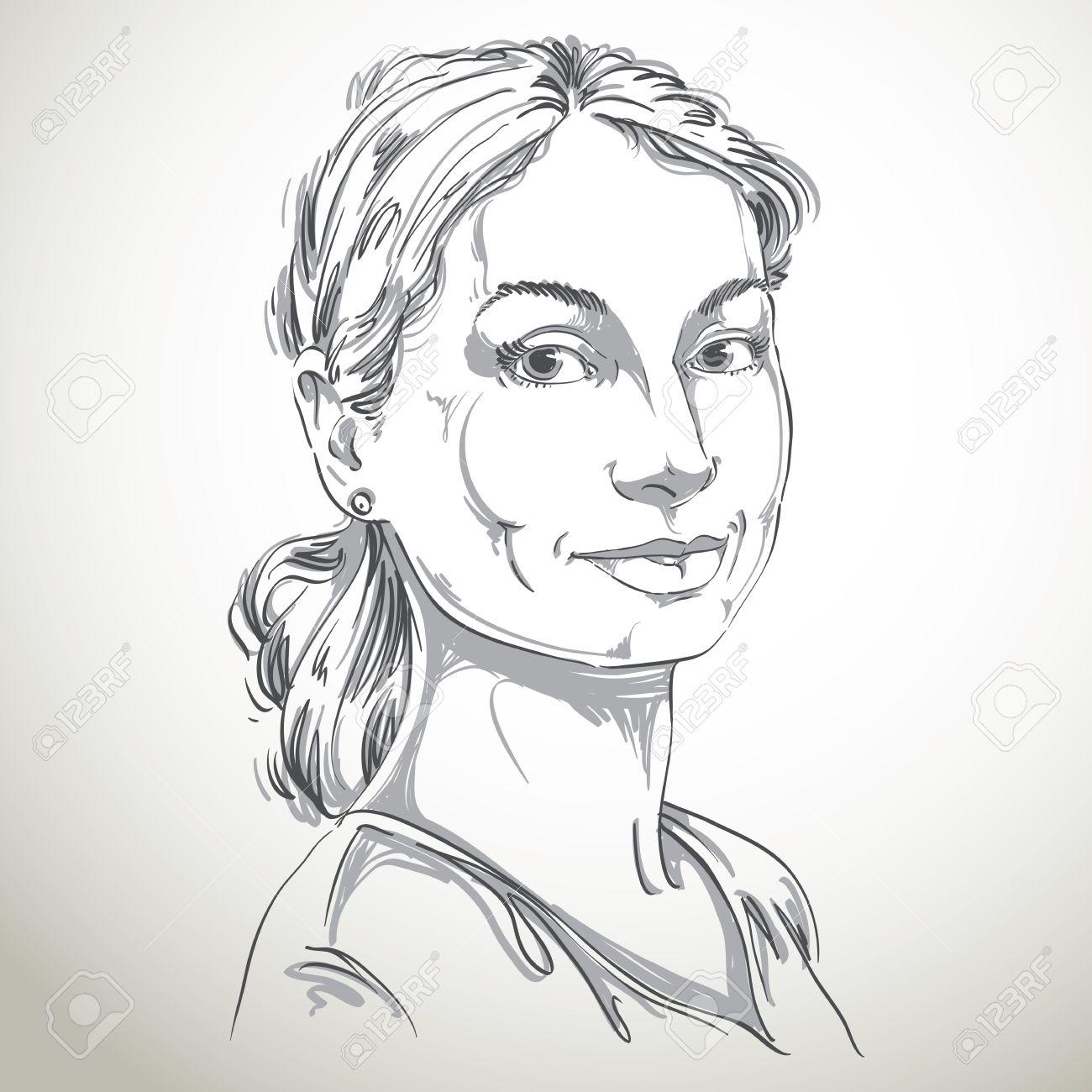 Portrait De Délicat Beau Encore Femme Noir Et Blanc Dessin Vectoriel Dune Jeune Fille Paisible Et Tendre Idée Image Expressions émotionnelle Joli