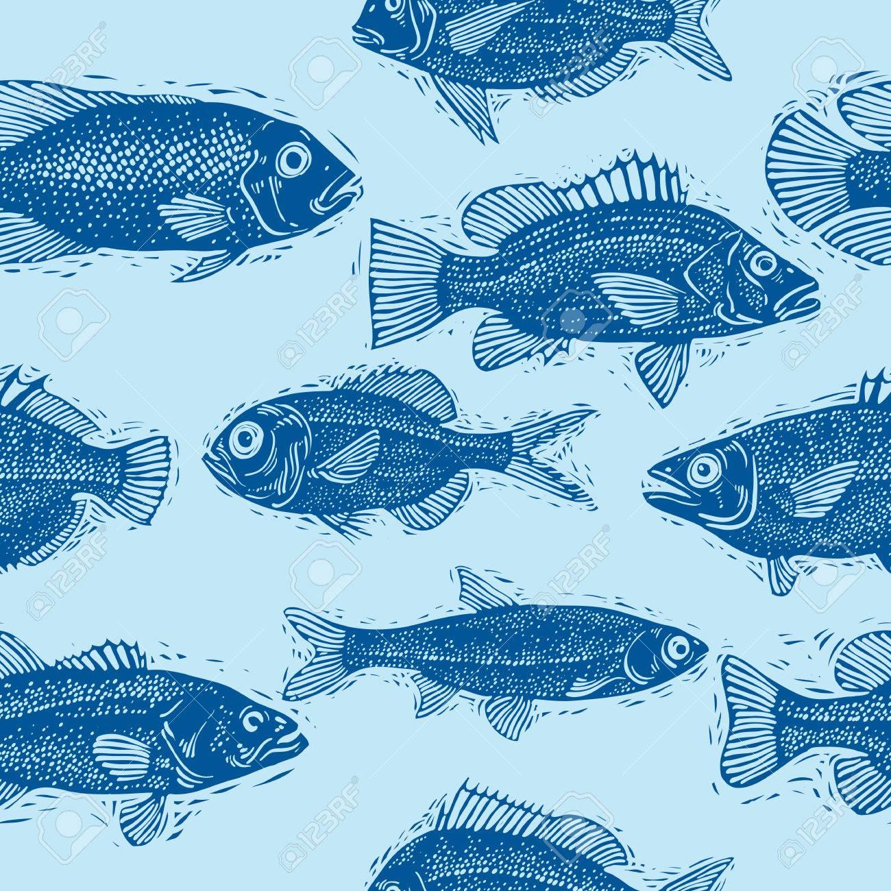 別の魚のシルエット シームレスな海パターン ベクトルアート手描き