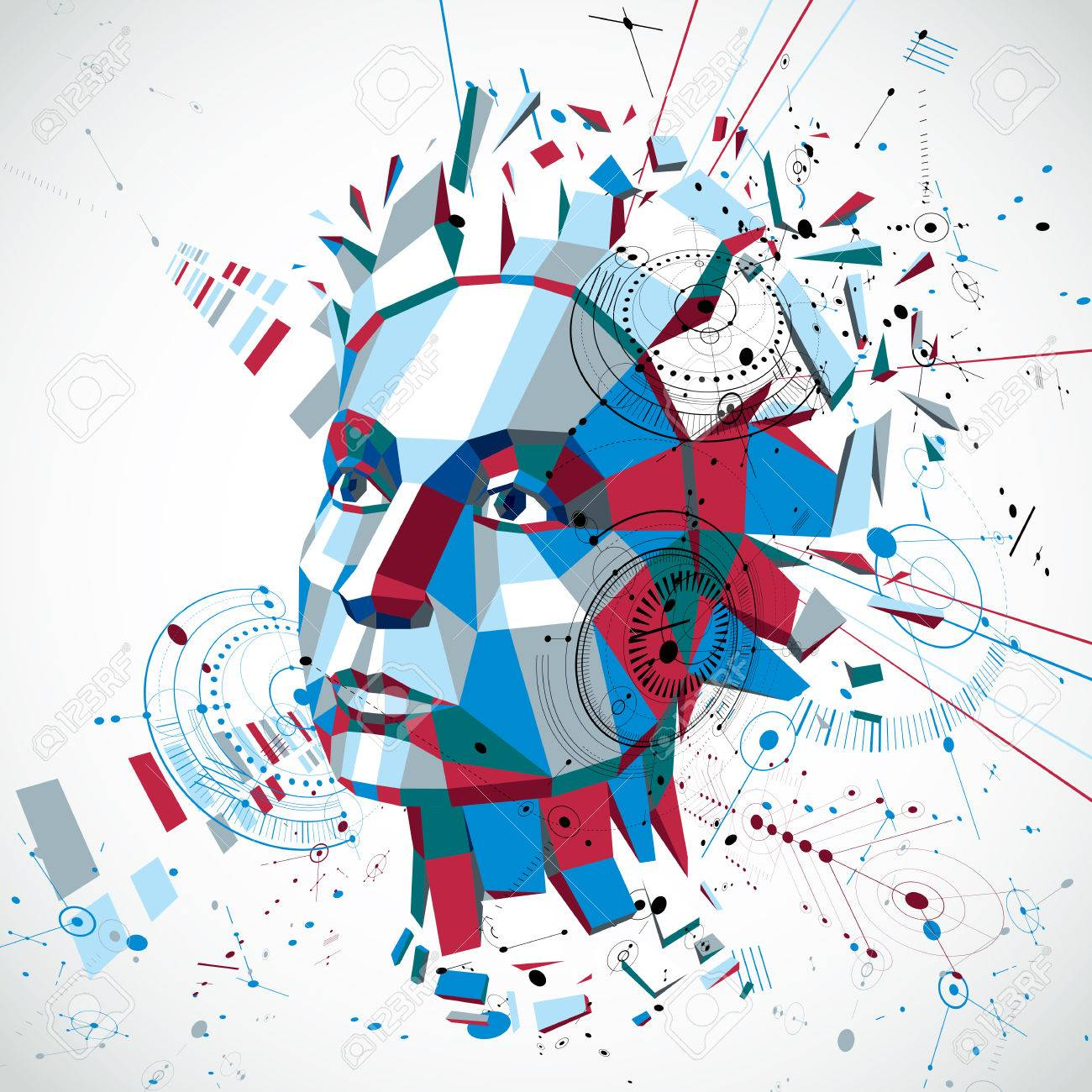Communication technology 3d vector background made with engineering draft elements and mechanism parts, science subject. Low poly illustration of human head full of thoughts, intelligence allegory. Stock Vector - 54749863