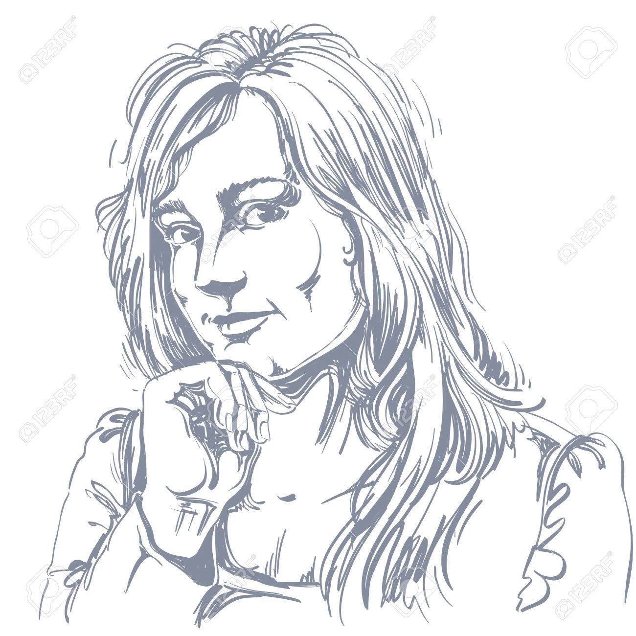 Vector Art Dessin Portrait De Fille Magnifique Flirt Isolé Sur Blanc Les Expressions Faciales Les Gens Des émotions Positives