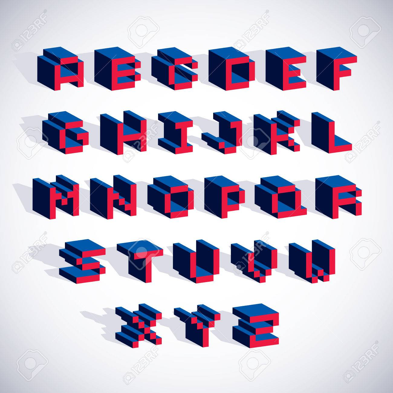 Vektor-Schrift, Typoskript In 8-Bit-Stil Erstellt. Pixelkunst ...