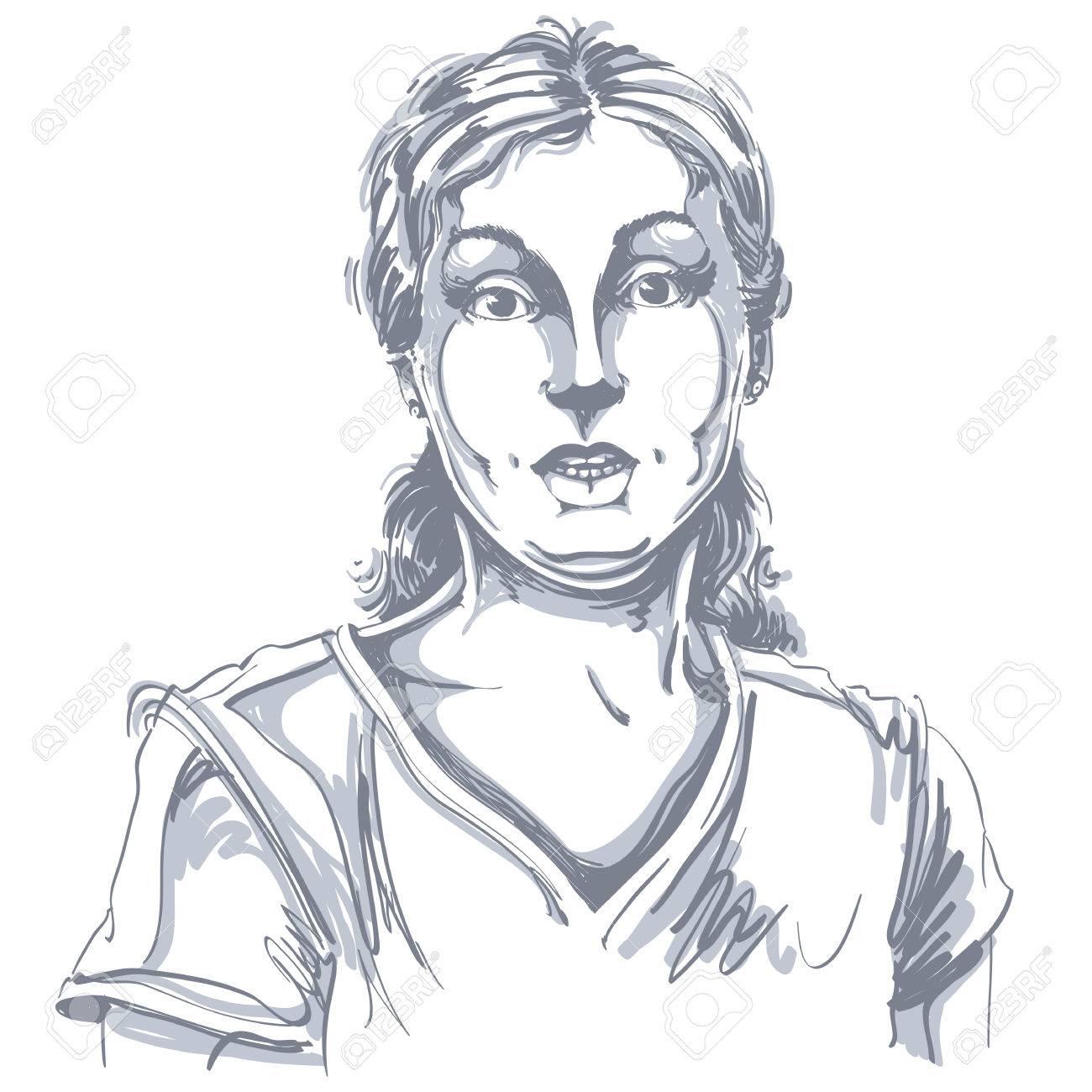 Portrait D Une Femme Sceptique Ou Cynique Fille Etourdi Noir Et