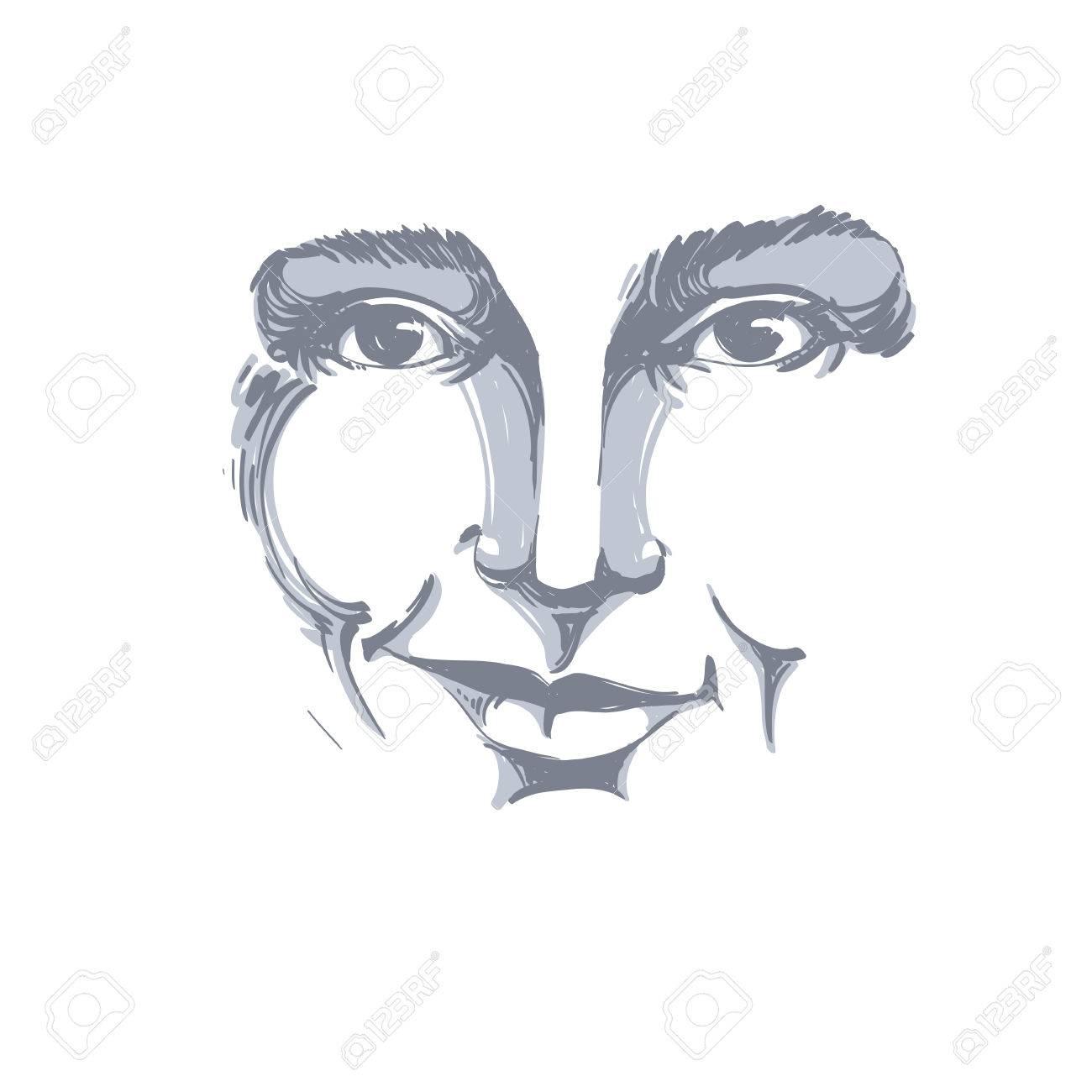 Dessin Vectoriel De La Femme Méfiante Traits Du Visage Portrait En