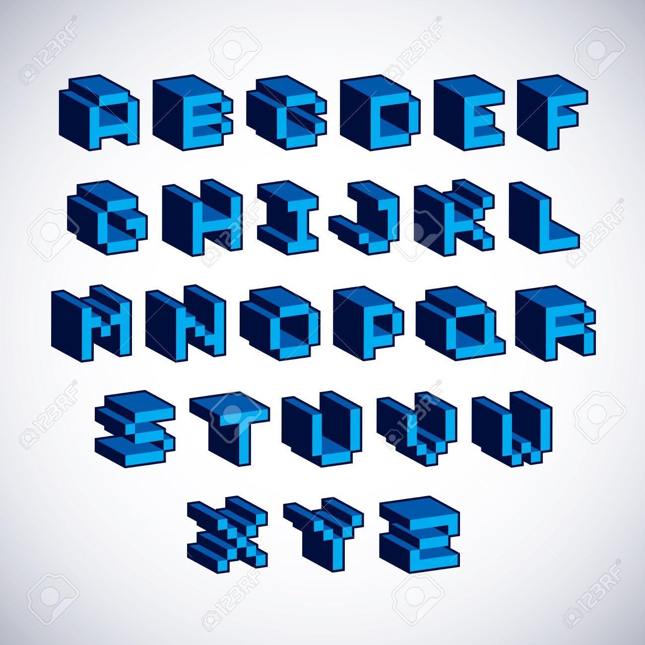 Cybernetic 3d Alphabet Letters, Pixel Art Vector Digital Typescript ...