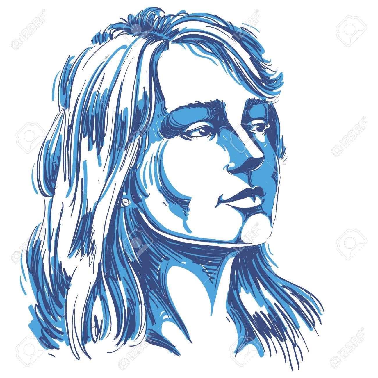 何か、かっこいい女性のイラストを考えて魅力的な物思いにふける女性の