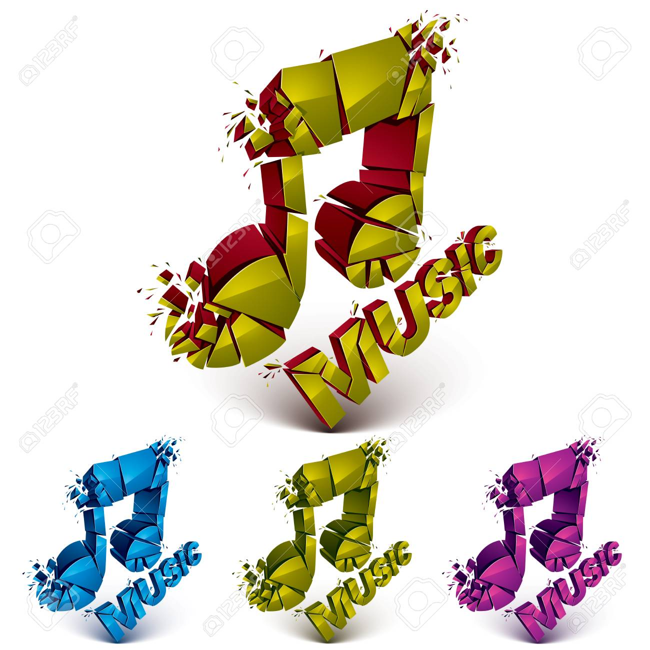 Set Of 3d Vector Shattered Musical Notes With Music Word Art