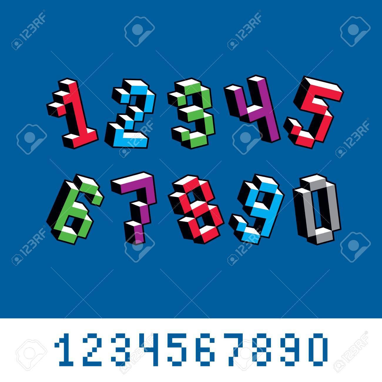 Cybernetic 3d Numbers, Pixel Art Vector Numeration. Pixel Design ...