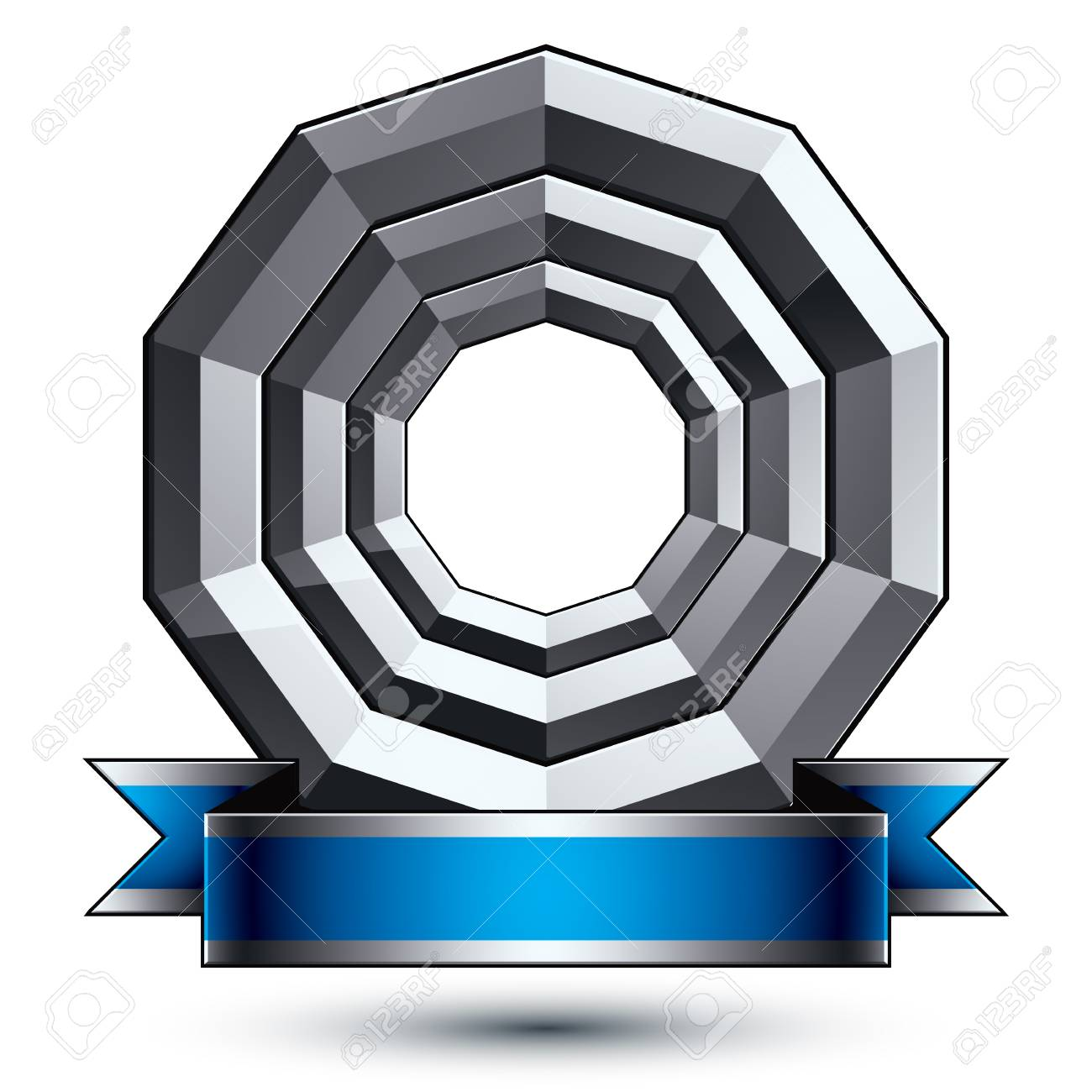 Silver Heraldic Vector Round Template, Dimensional Royal Geometric ...