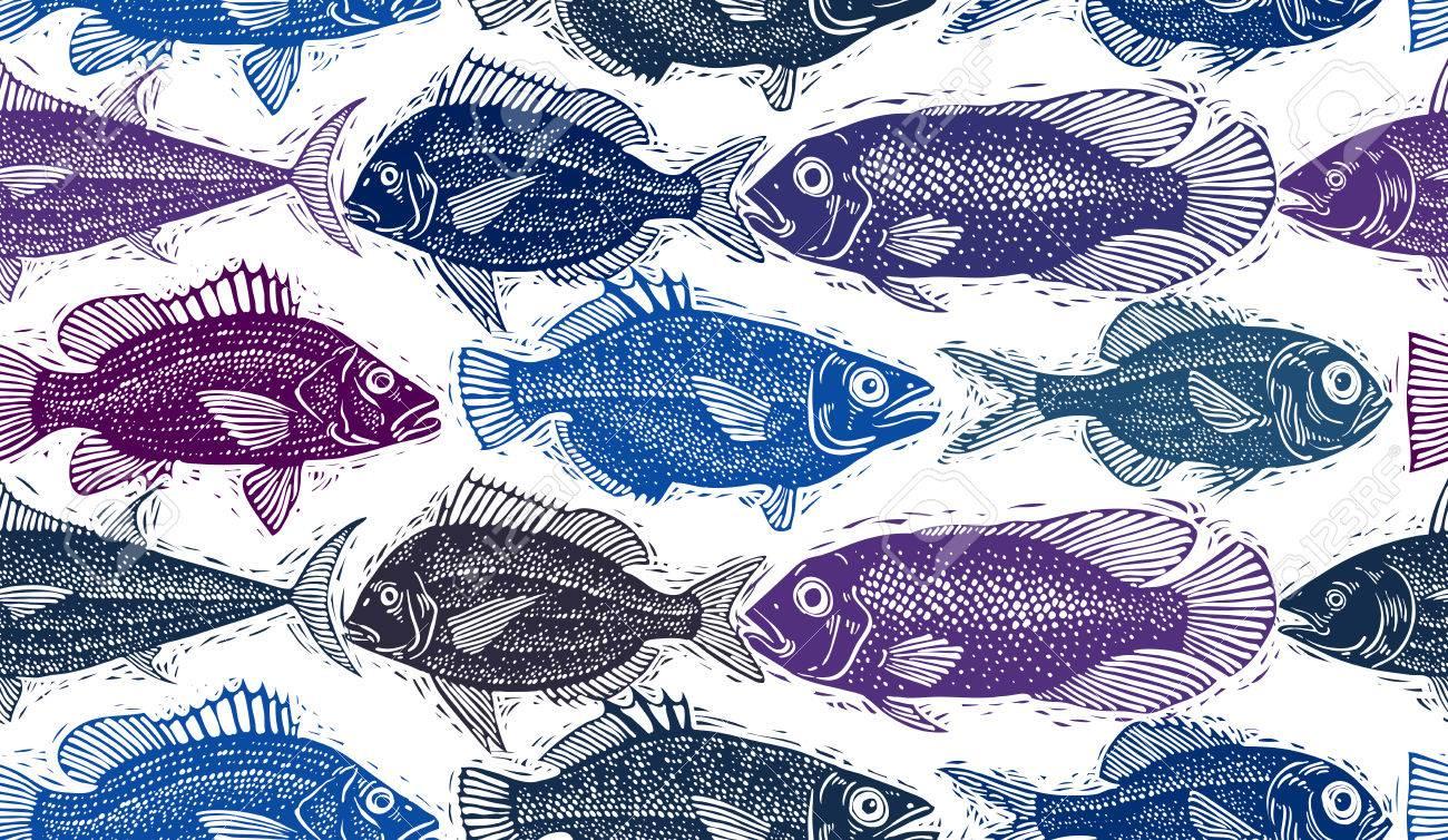 Freshwater fish art - Freshwater Vector Fish Endless Pattern Art Nature And Marine Theme Seamless Tiling Seafood Wallpaper