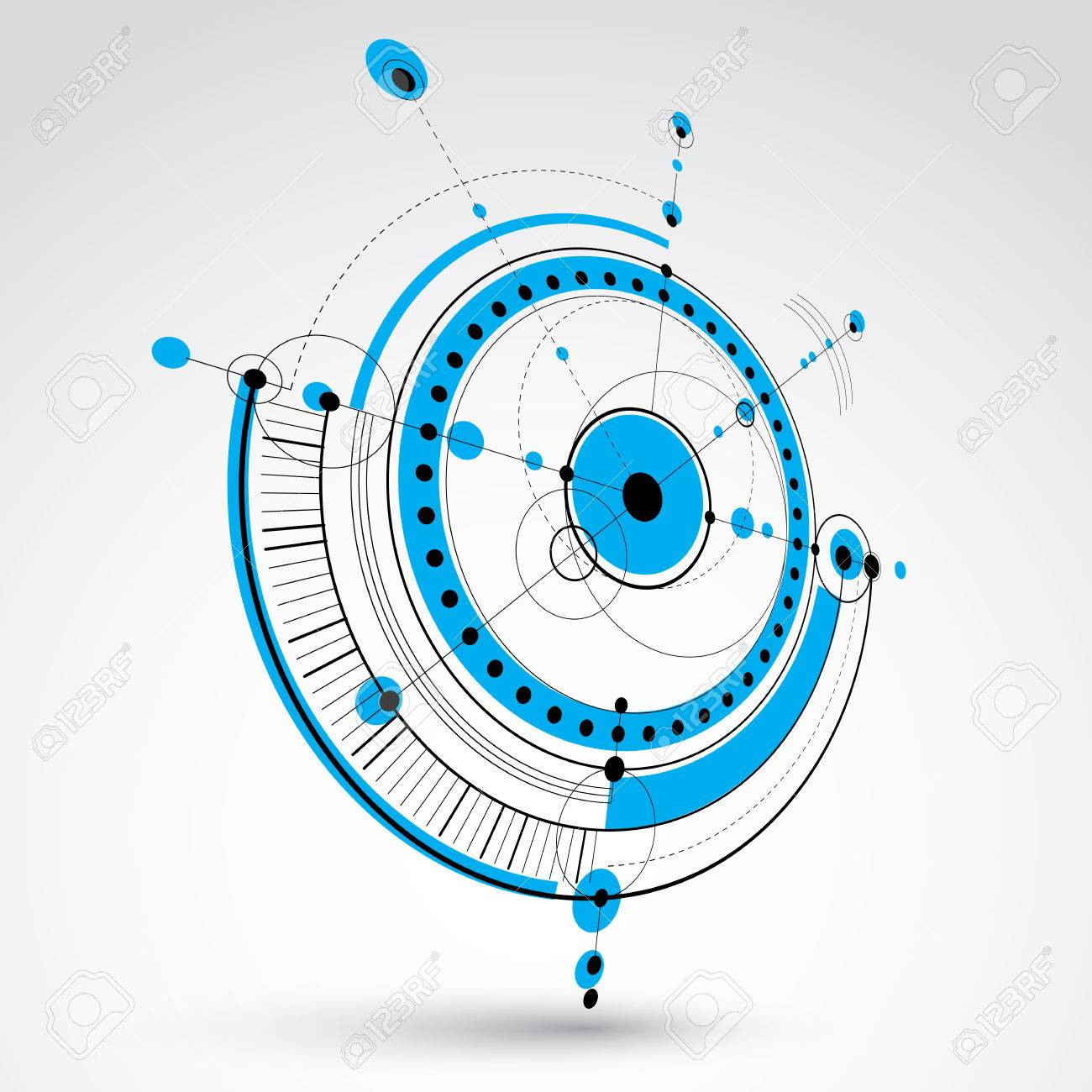Technical drawing made using dashed lines and geometric circles blue perspective vector wallpaper created in