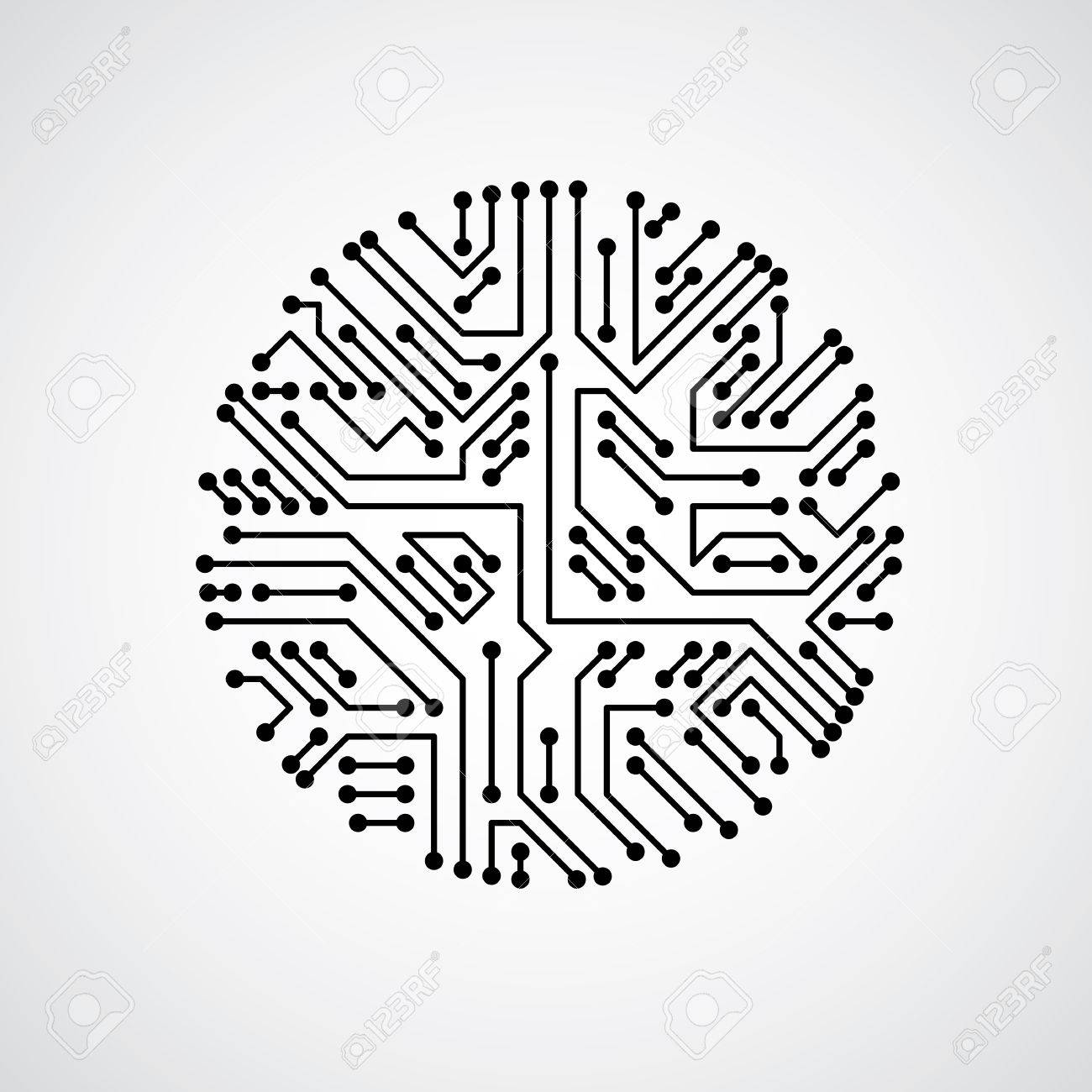 futuristic cybernetic scheme vector motherboard black and white