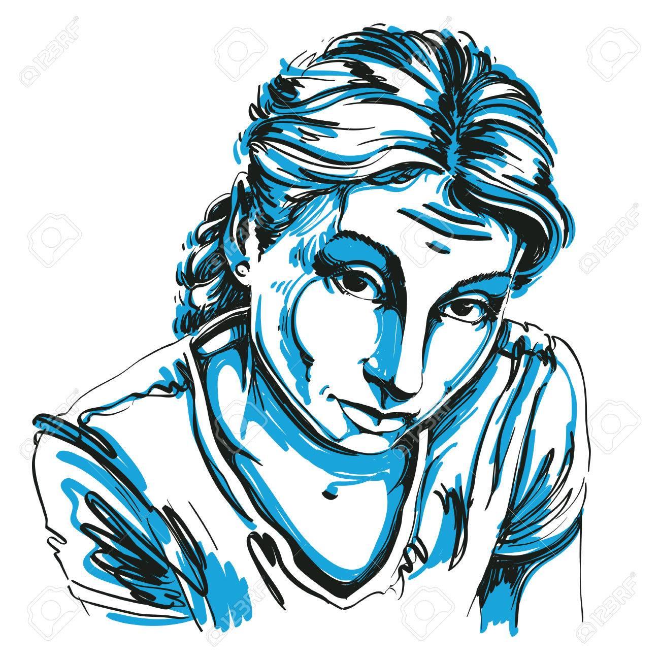 Portrait Dune Femme Naïve Ou Blâmable Délicate Noir Et Blanc Dessin Vectoriel Idée Image Expressions émotionnelles