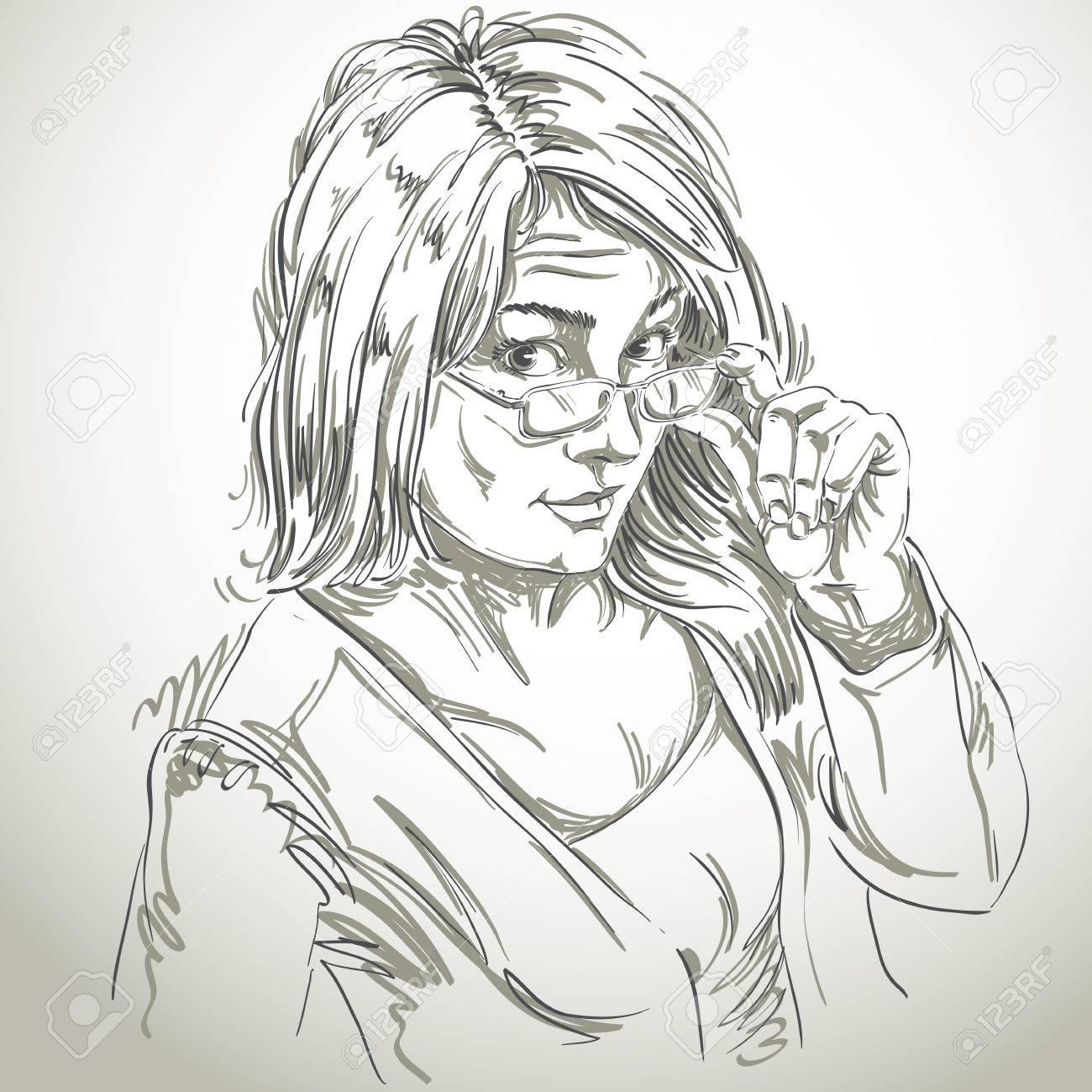 Vector Art Dessin Portrait De Fille Magnifique Avec Des Lunettes Les Expressions Faciales Les Gens émotions Fille Sceptique Ou Méfiant