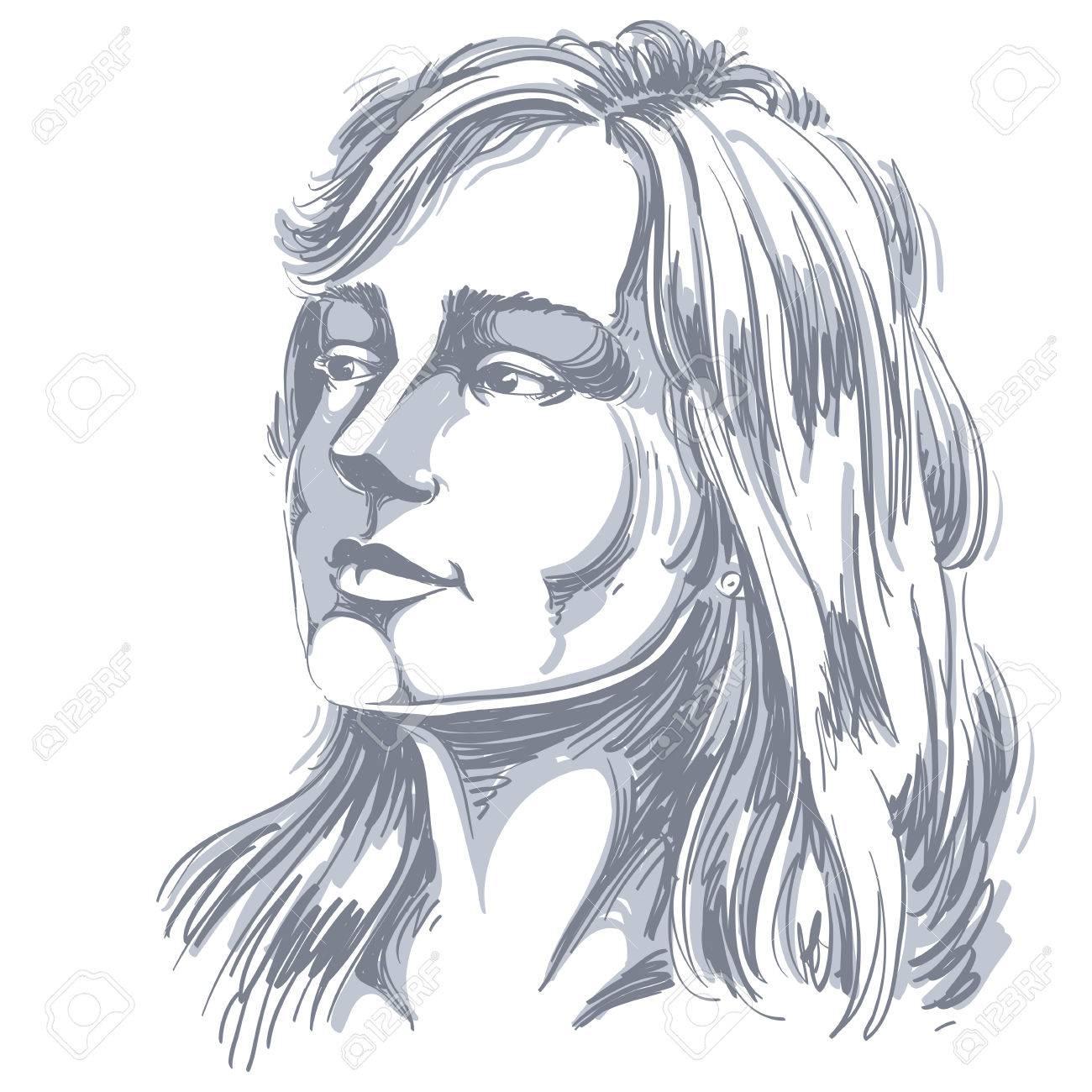 何か かっこいい女性のイラストを考えて魅力的な物思いにふける女性のベクトルの肖像 人の感情的な表情 のイラスト素材 ベクタ Image