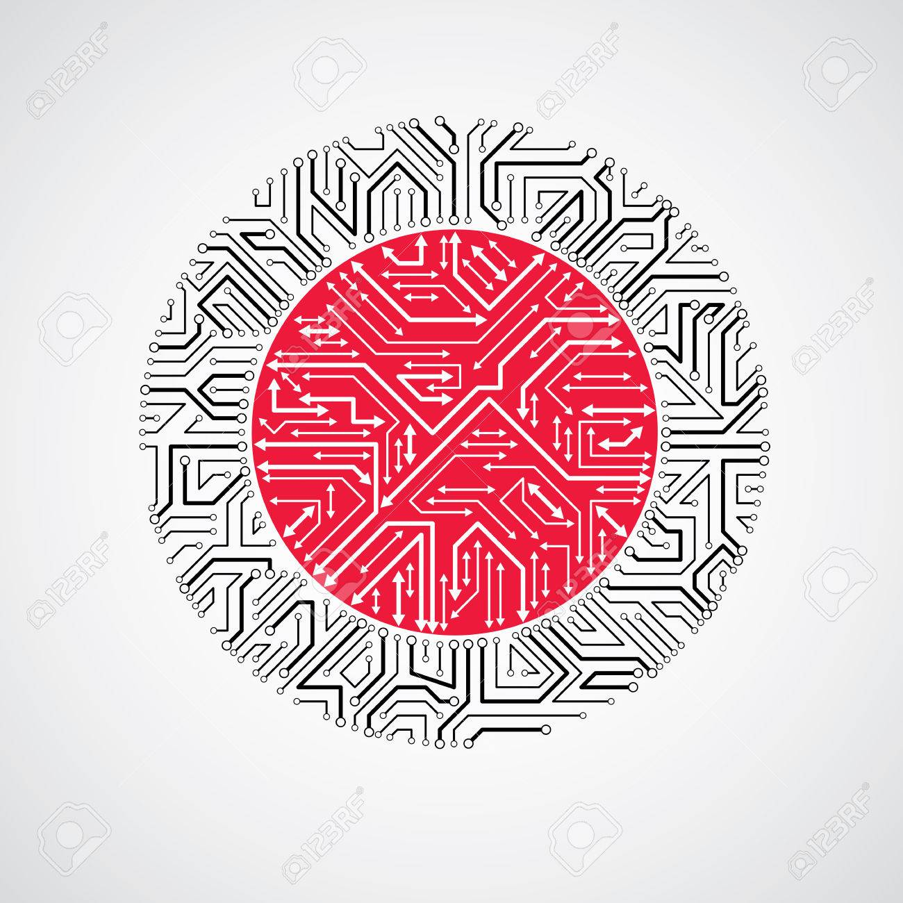 vector abstract puter circuit board red and black illustration Basic Electrical Schematics vector vector abstract puter circuit board red and black illustration round technology element with connections and arrows