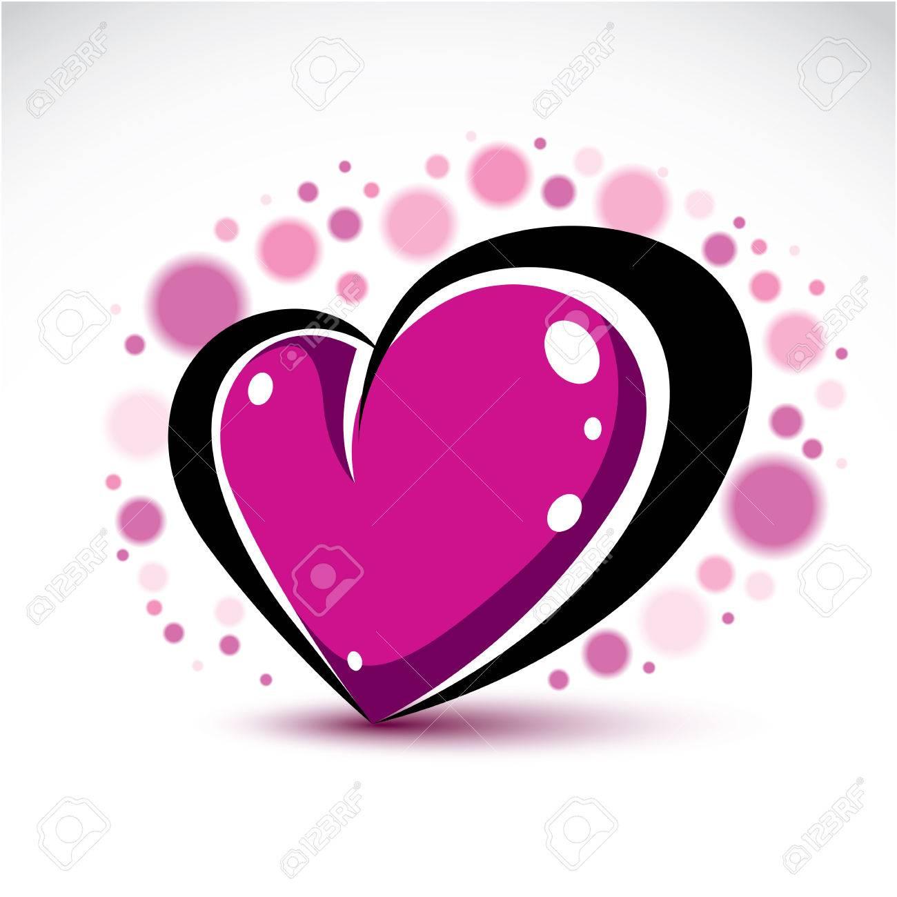 Love and romance symbolic object dimensional purple heart love and romance symbolic object dimensional purple heart decorated with transparent bubbles vector symbol buycottarizona