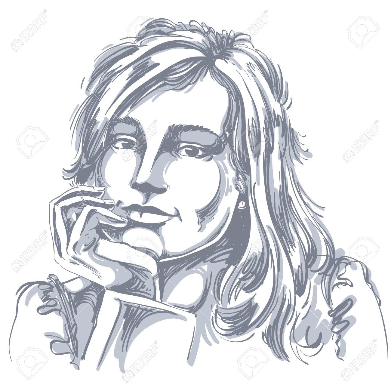 Dessin Vectoriel Art De Femme Pensive Romantique Avec Coupe élégante