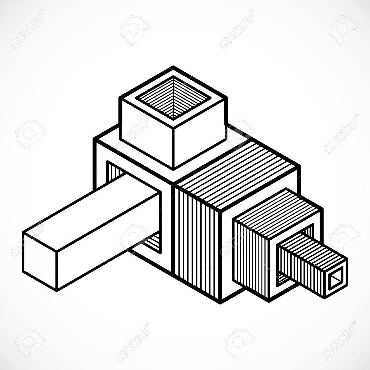 abstract vector geometric form, 3d shape. royalty free cliparts