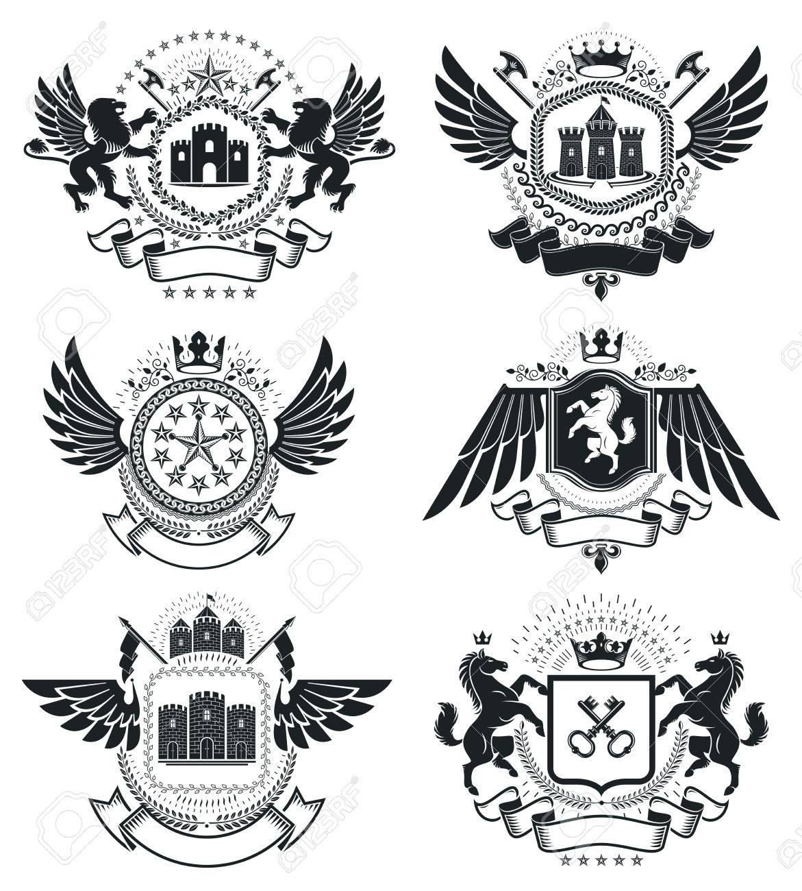 Heraldic coat of arms vintage vector emblems classy high quality heraldic coat of arms vintage vector emblems classy high quality symbolic illustrations collection biocorpaavc Images
