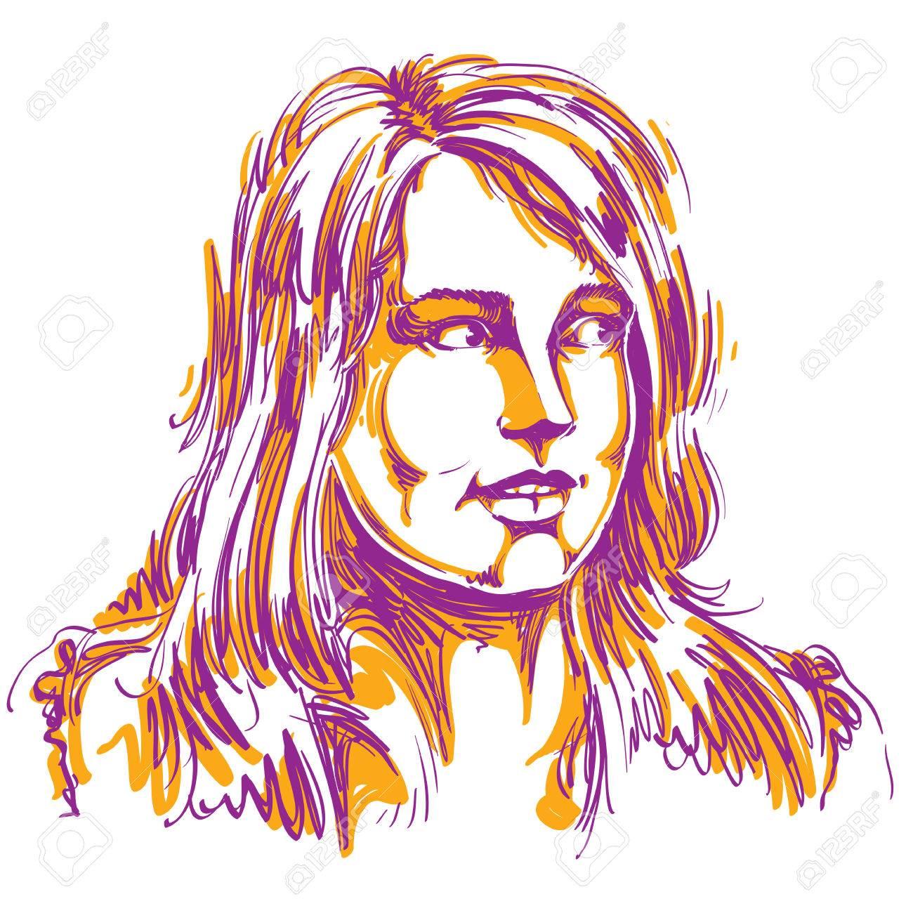 魅力的な女性、かっこいい不思議な女性のイラストのベクトルの肖像。人の