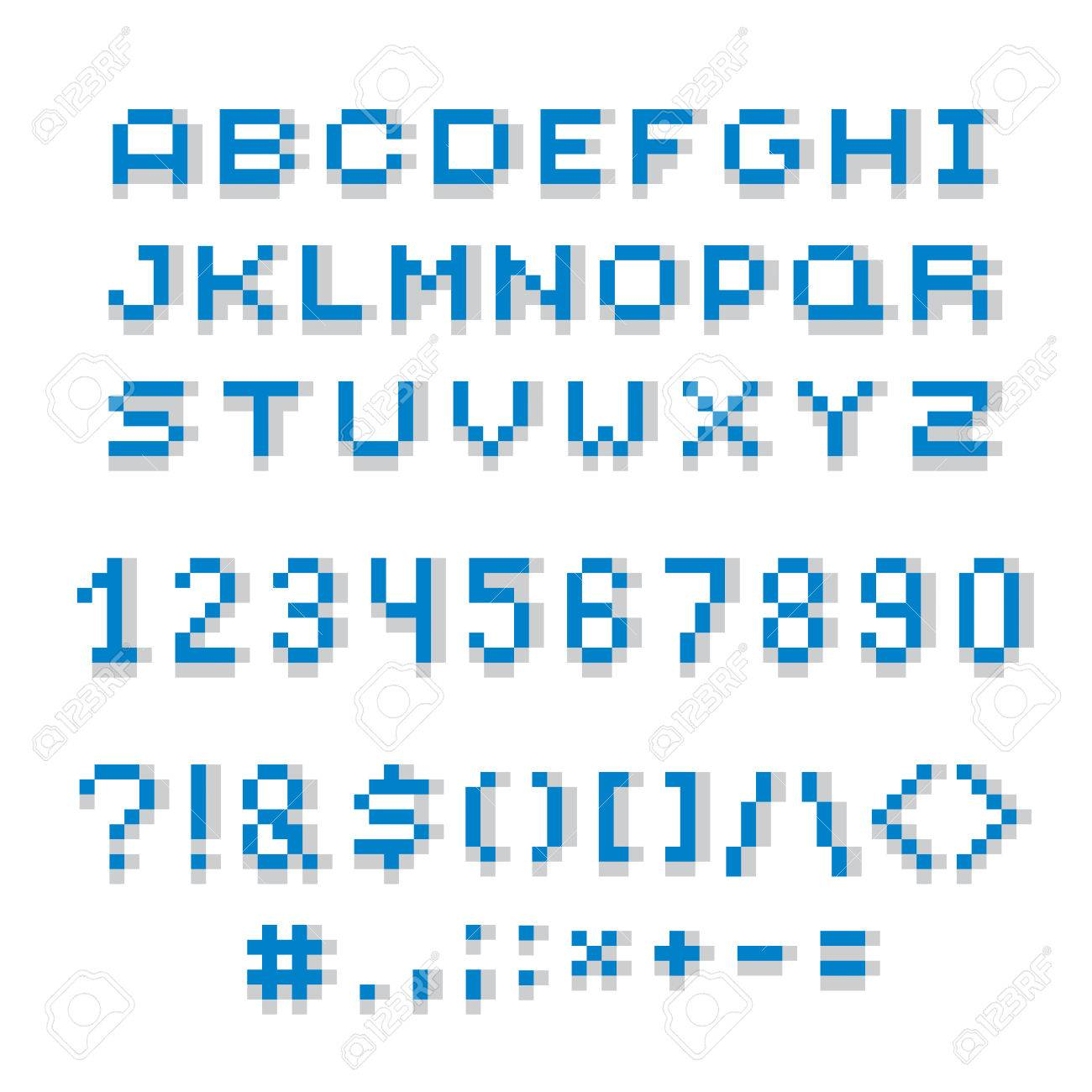 Cybernetic 3d Numbers Letters And Punctuation Marks Pixel Art