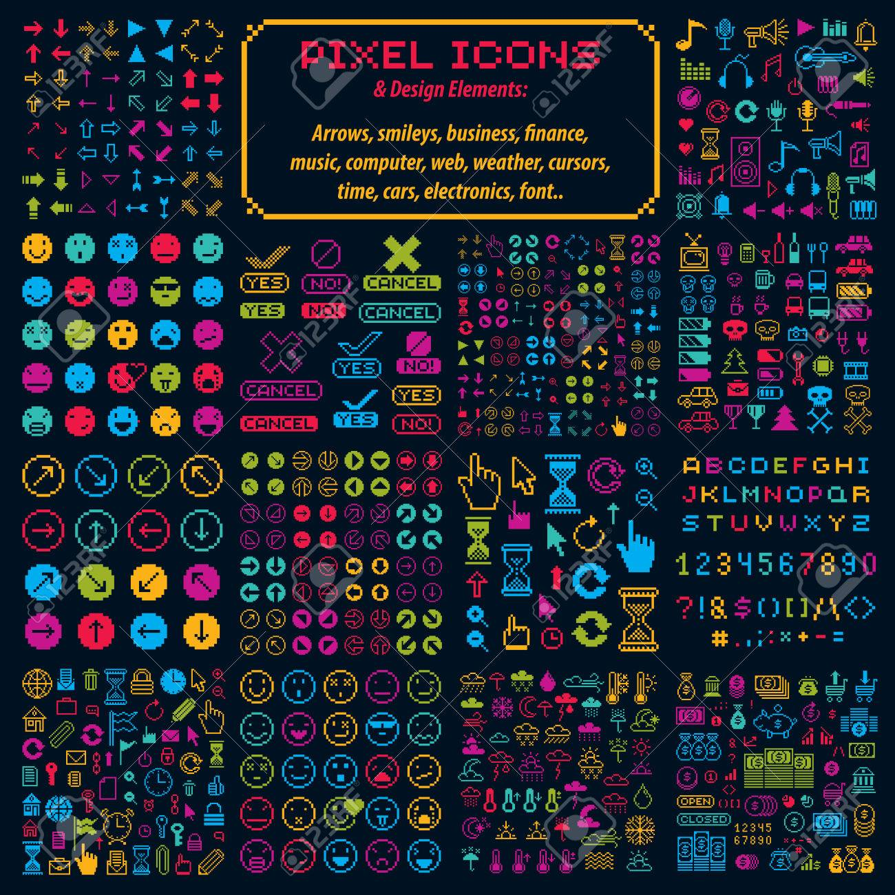Vector Flat 8 Bit Icons Collection Of Simple Geometric Pixel