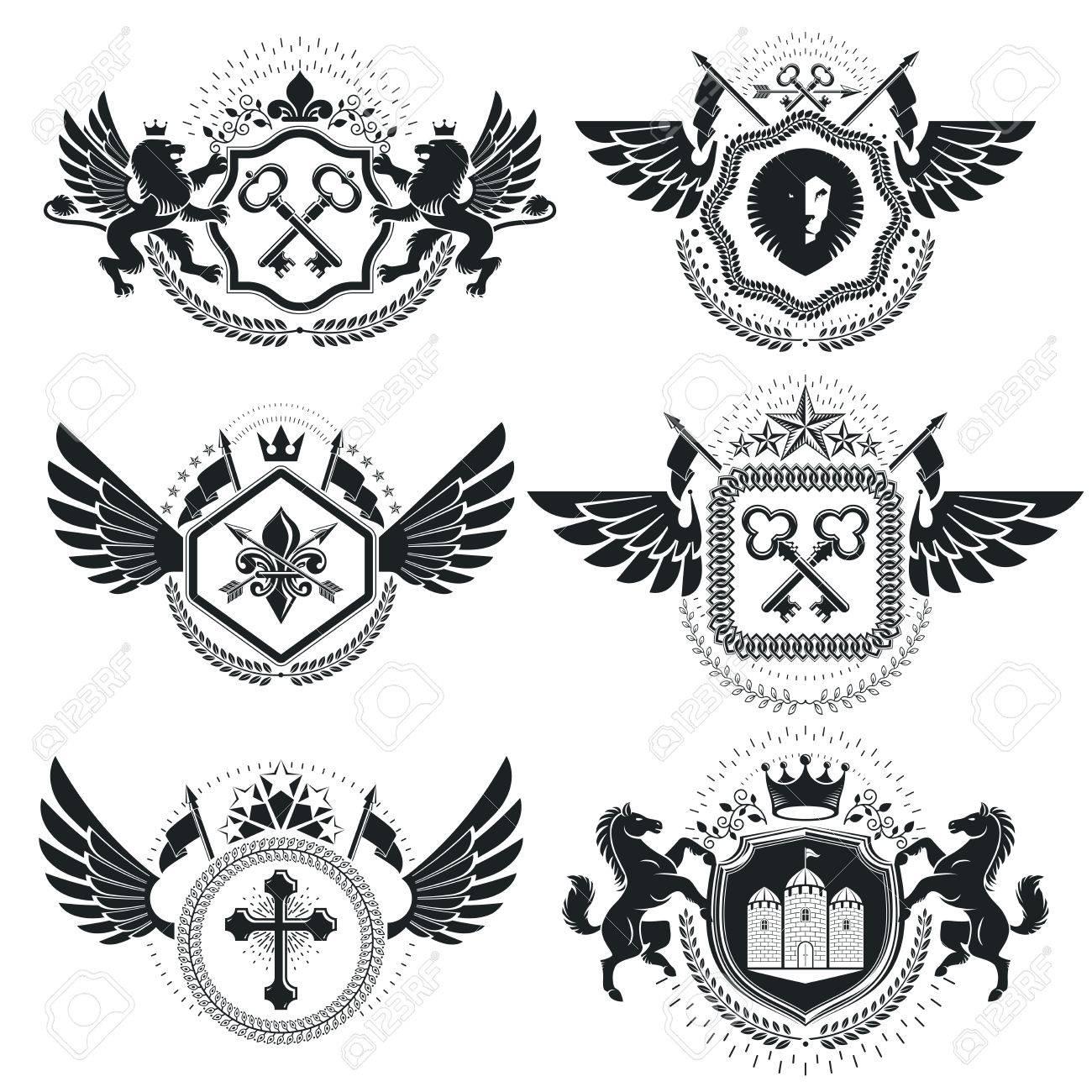 Heraldic coat of arms decorative emblems collection of symbols heraldic coat of arms decorative emblems collection of symbols in vintage style stock vector biocorpaavc Images