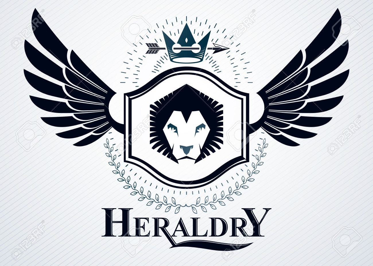 classy emblem made with eagle wings decoration wild lion illustration royalty free cliparts vectors and stock illustration image 67471257 classy emblem made with eagle wings decoration wild lion illustration