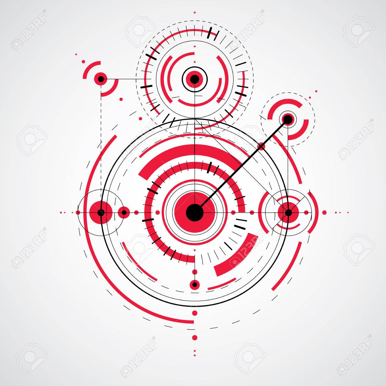 Technical drawing made using dashed lines and geometric circles vector wallpaper created in communications technology