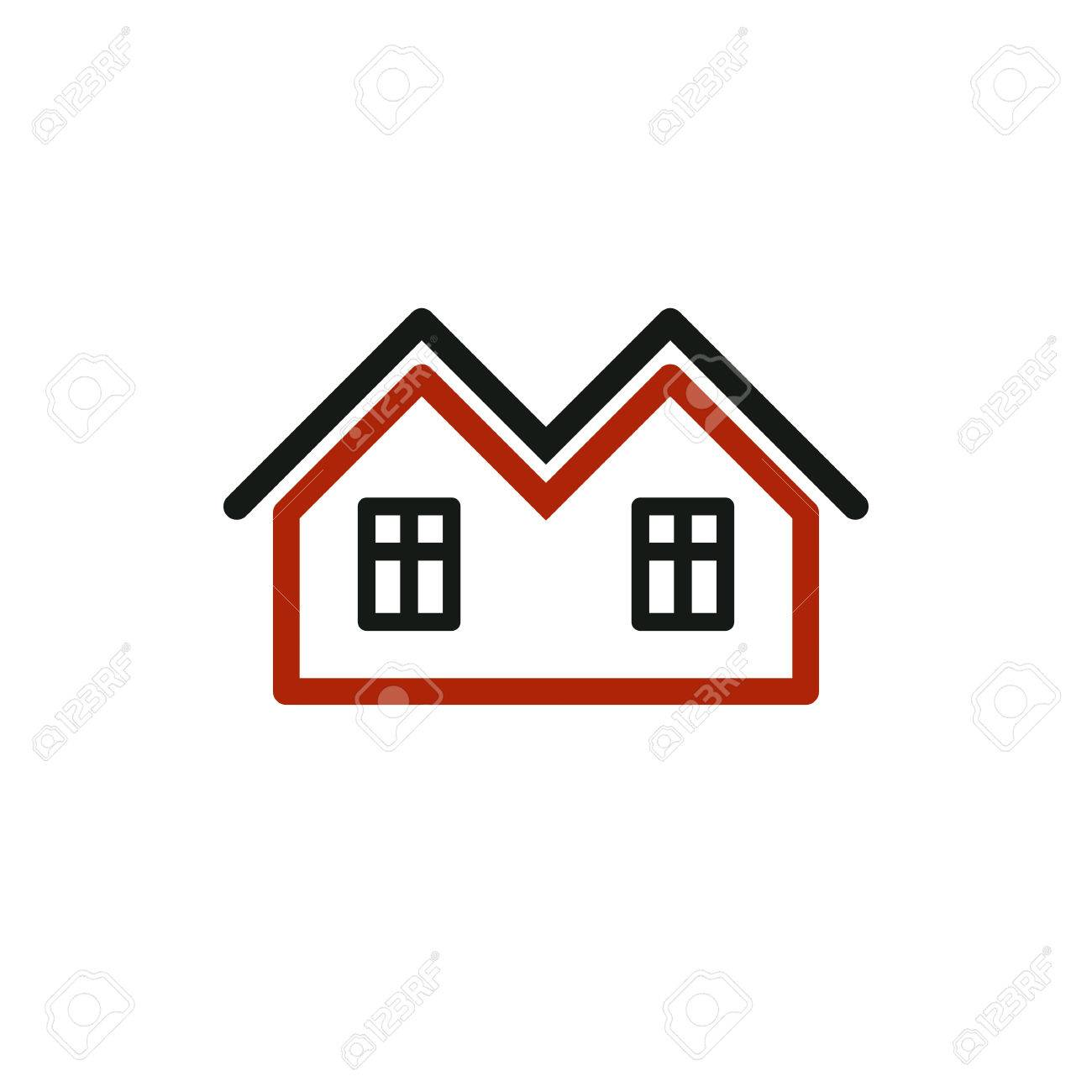 Vector Stilvolle Immobilienbüro Symbol. Kreative Bau-Symbol - Häuser ...