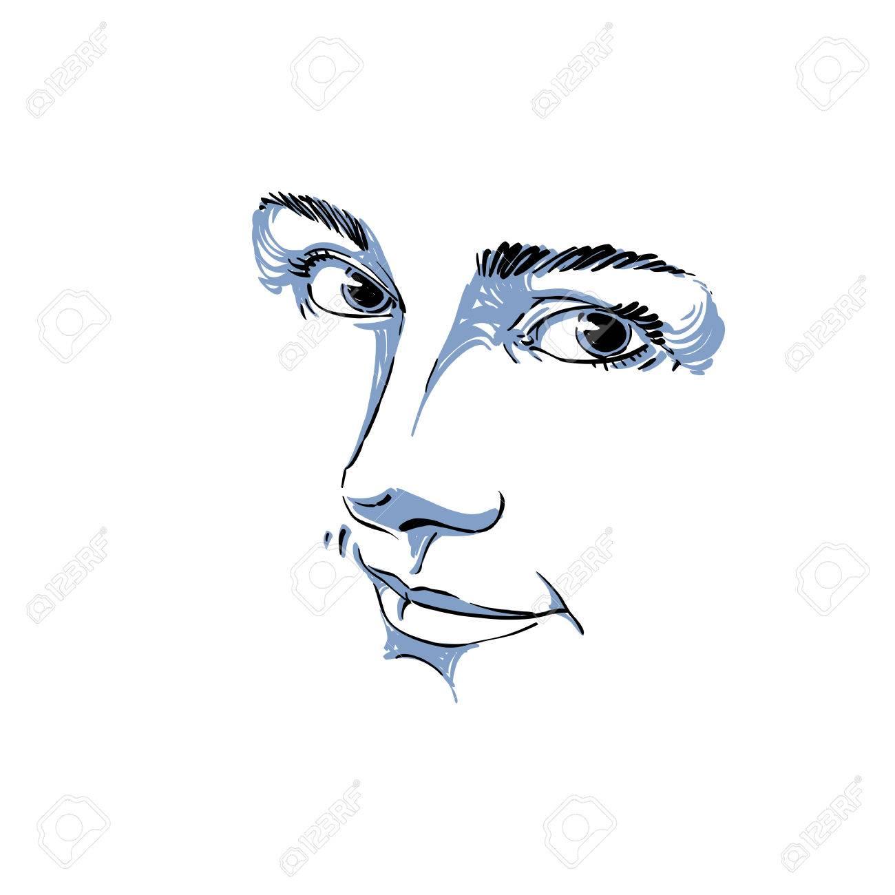 Monochrome Portrait De Délicate Bonne Mine Rêveuse Encore Femme Noir Et Blanc Dessin Vectoriel Idée Image Expressions émotionnelles Traits Du