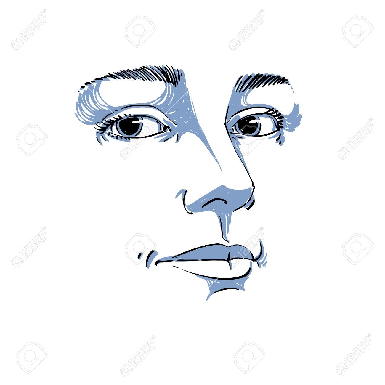 Portrait De Loffre De Rêve Encore Femme Noir Et Blanc Dessin Vectoriel Idée Image Expressions émotionnelles Traits Du Visage Monochrome