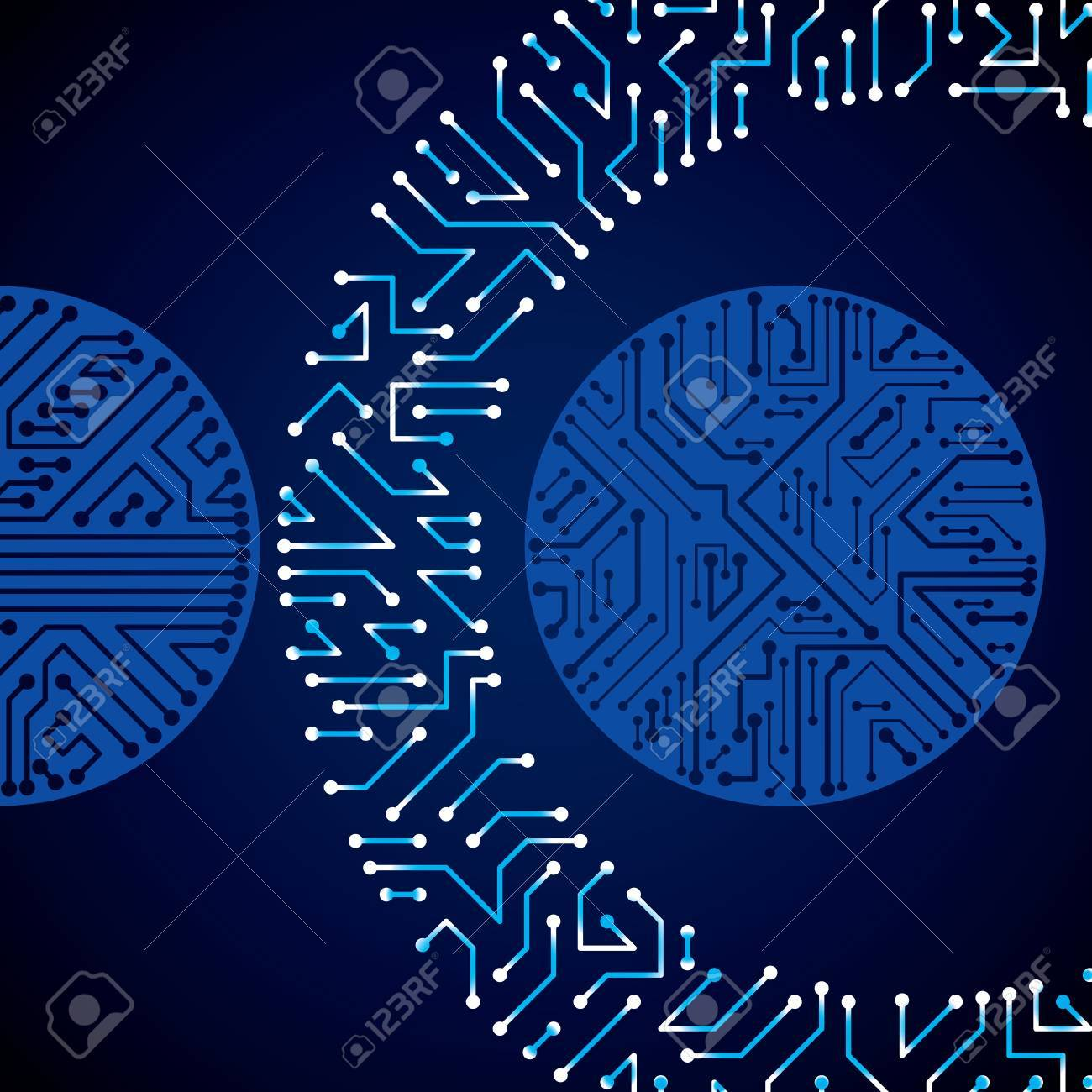 Vector Electronic Pattern With Microchip Scheme, Luminescent ...