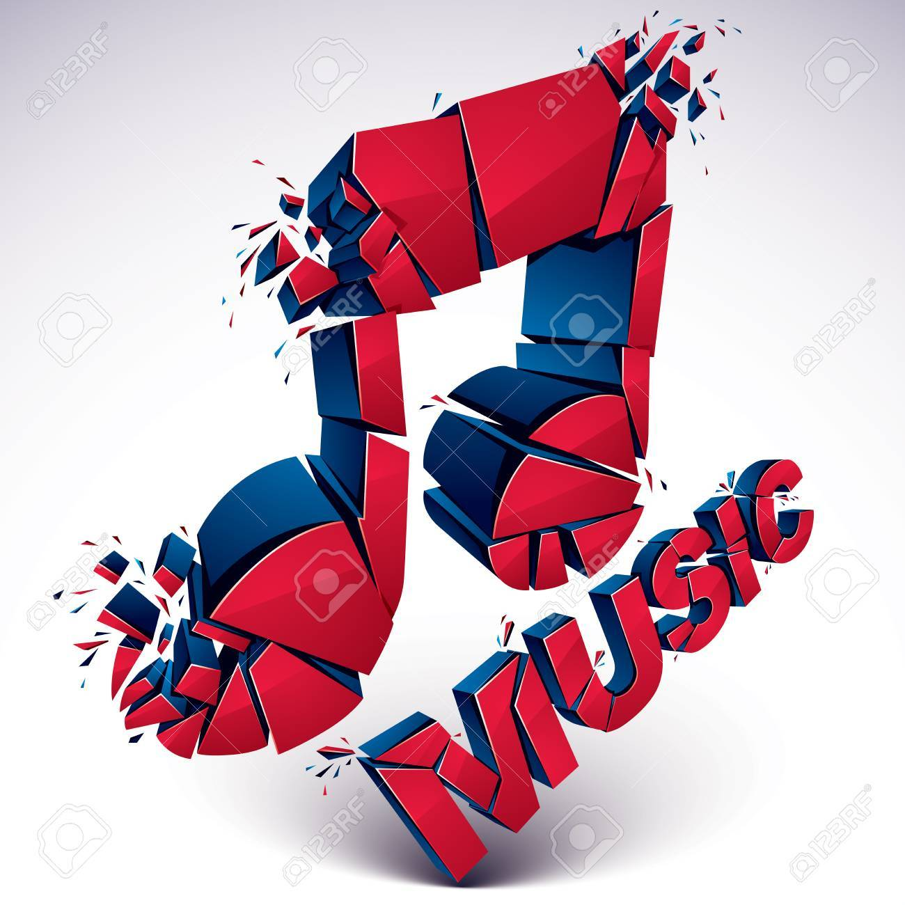3d Vector Red Shattered Musical Notes With Music Word Art Melody